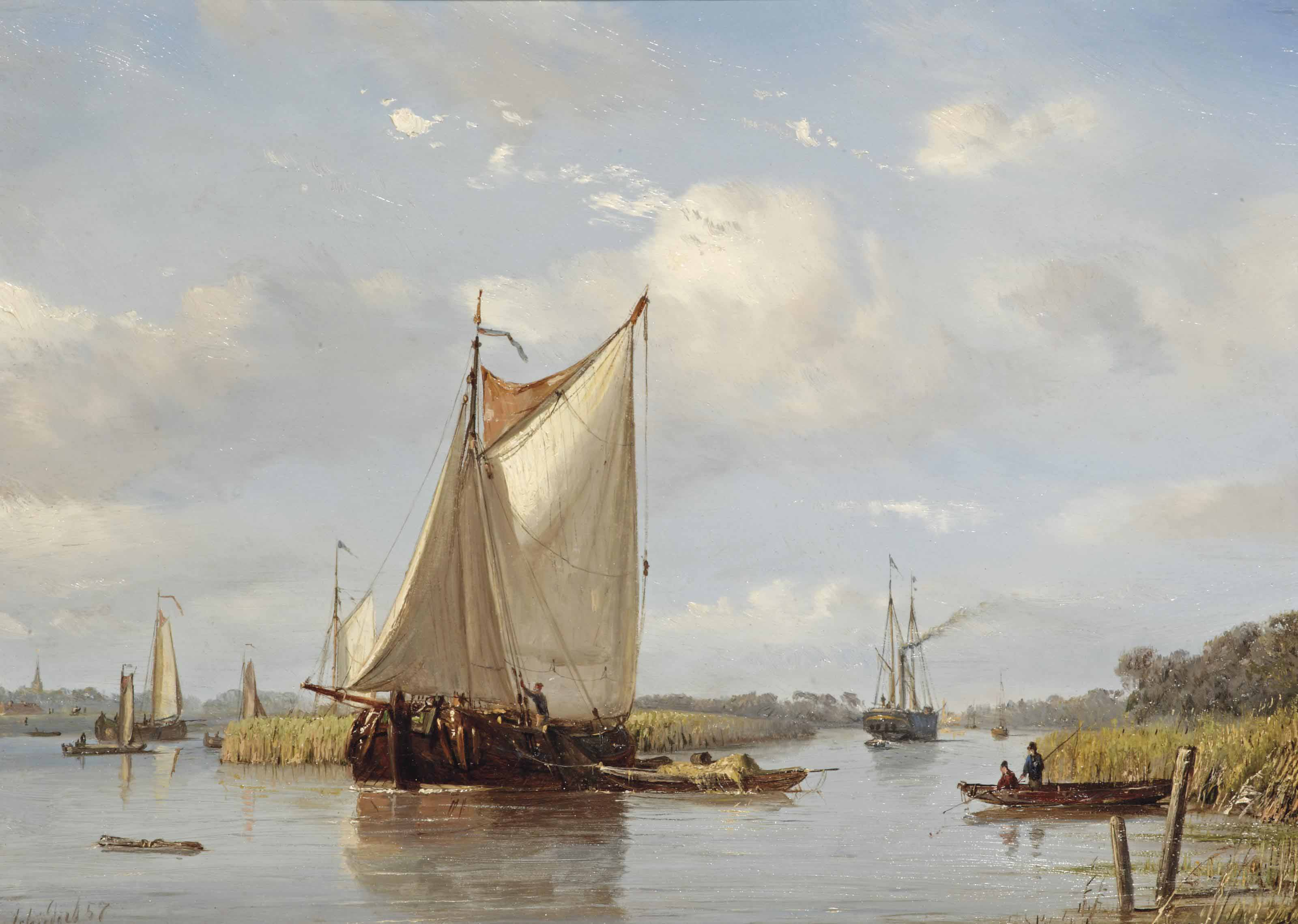A summer river landscape with flatboats