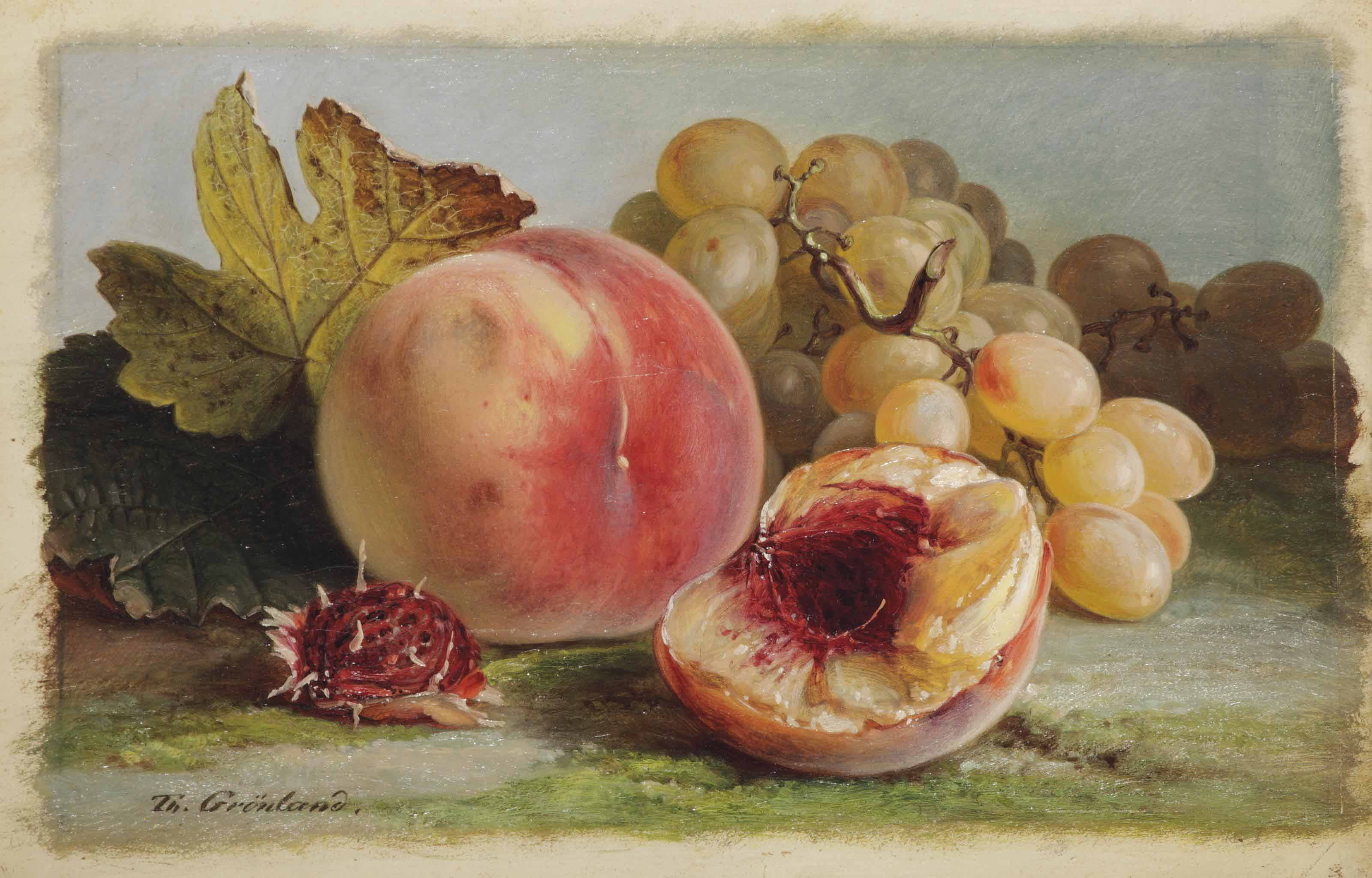 Peaches and white grapes