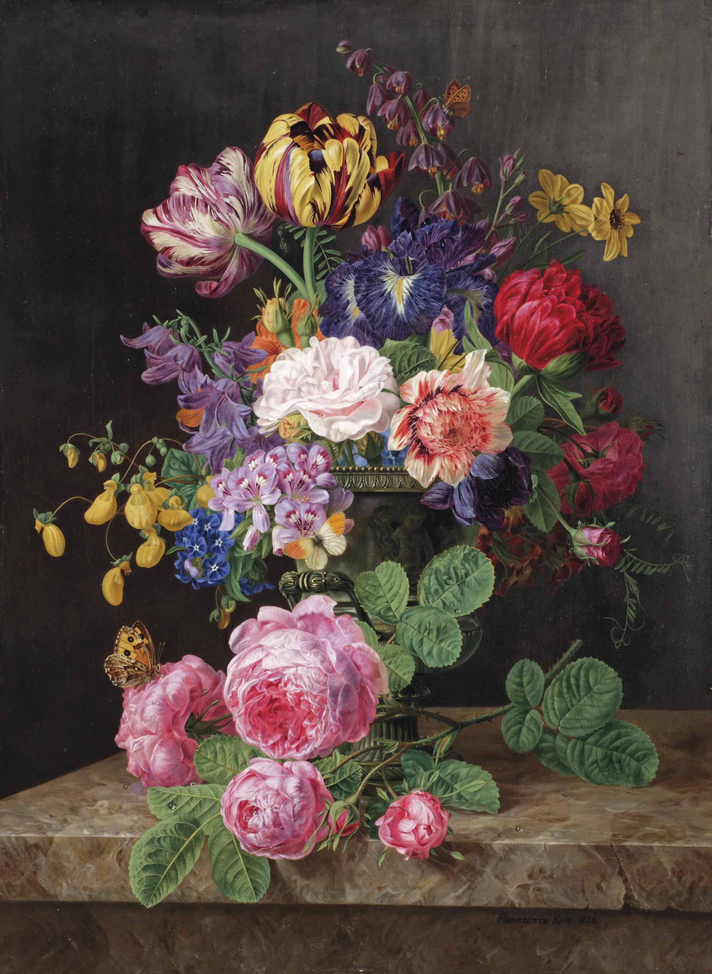 Roses, tulips, lady's purses, black irises and other flowers in a vase, and a stem of pink roses, on a stone ledge