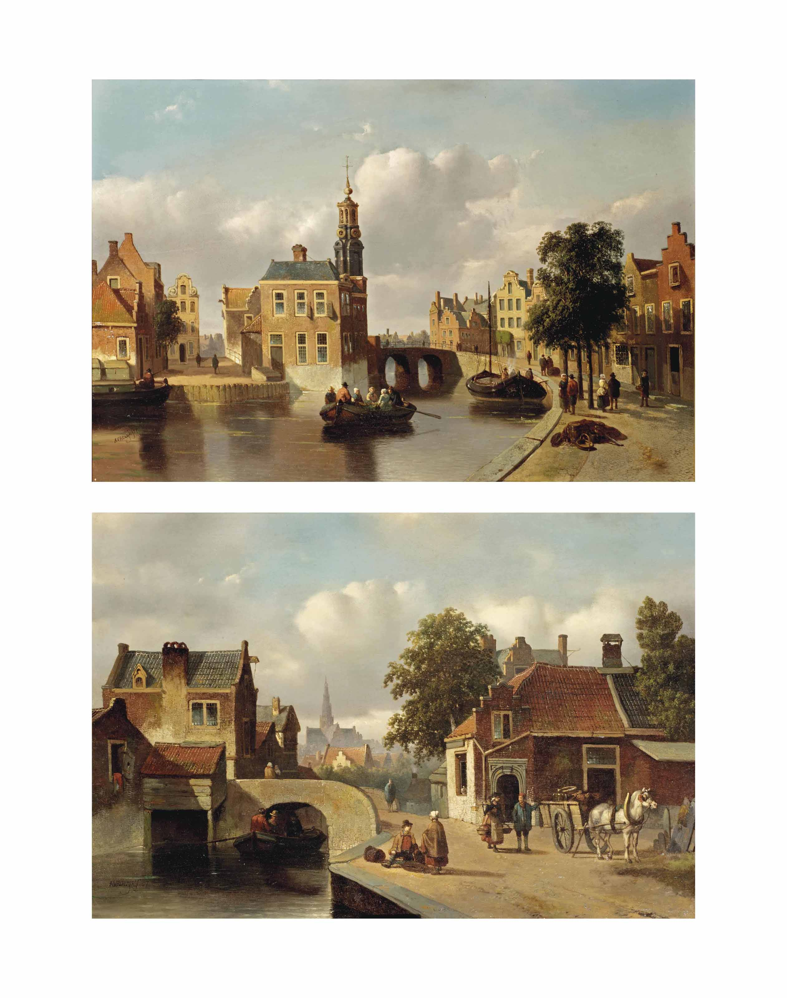 A capriccio view of the Munt, Amsterdam; and A capriccio view of Haarlem with the St. Bavo church
