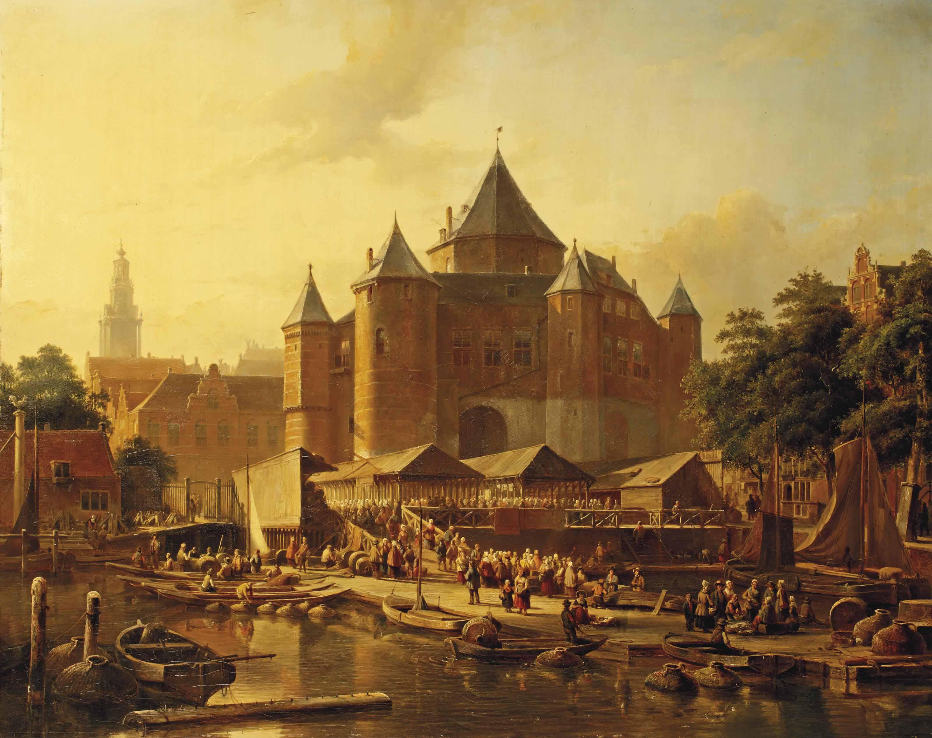A fish market by De Waag on the Nieuwmarkt, Amsterdam