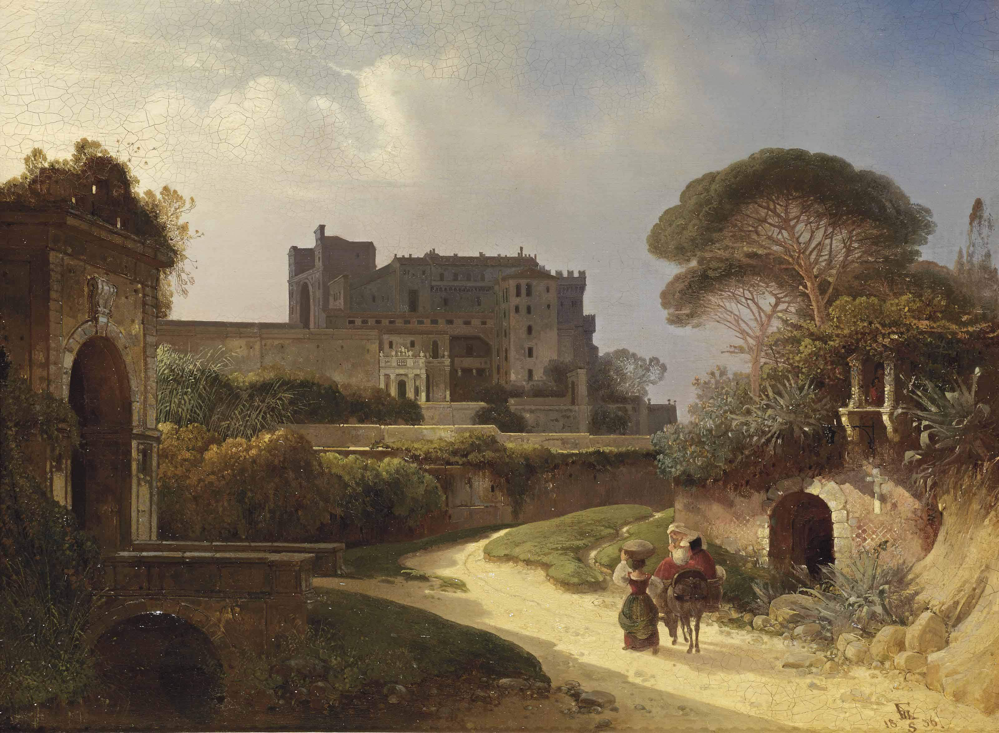 A veduta of an Italian castello and gardens