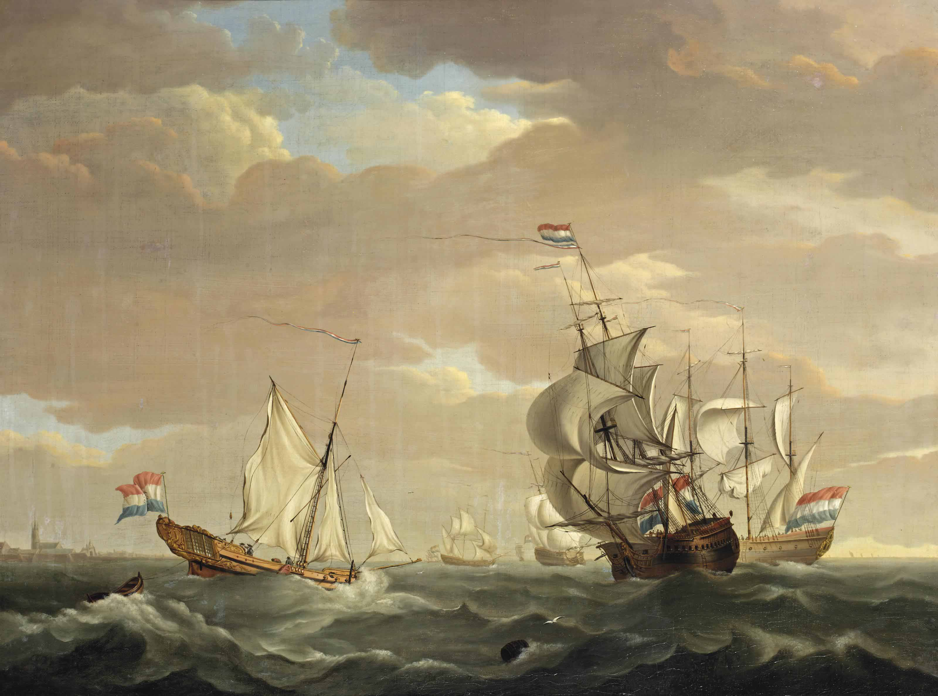 East-Indiamen off the Dutch coast