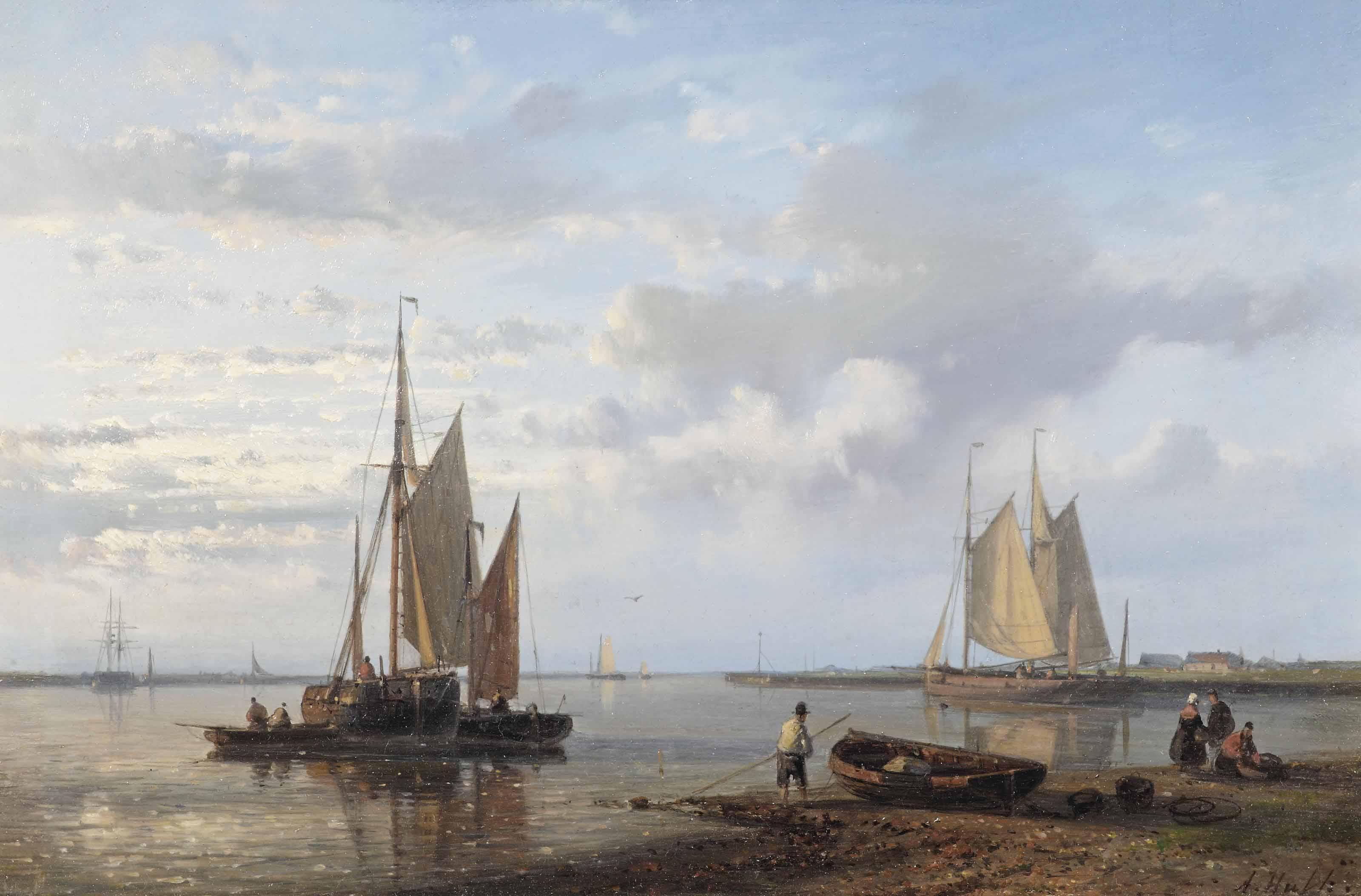 Sailing vessels in a tranquil Dutch estuary