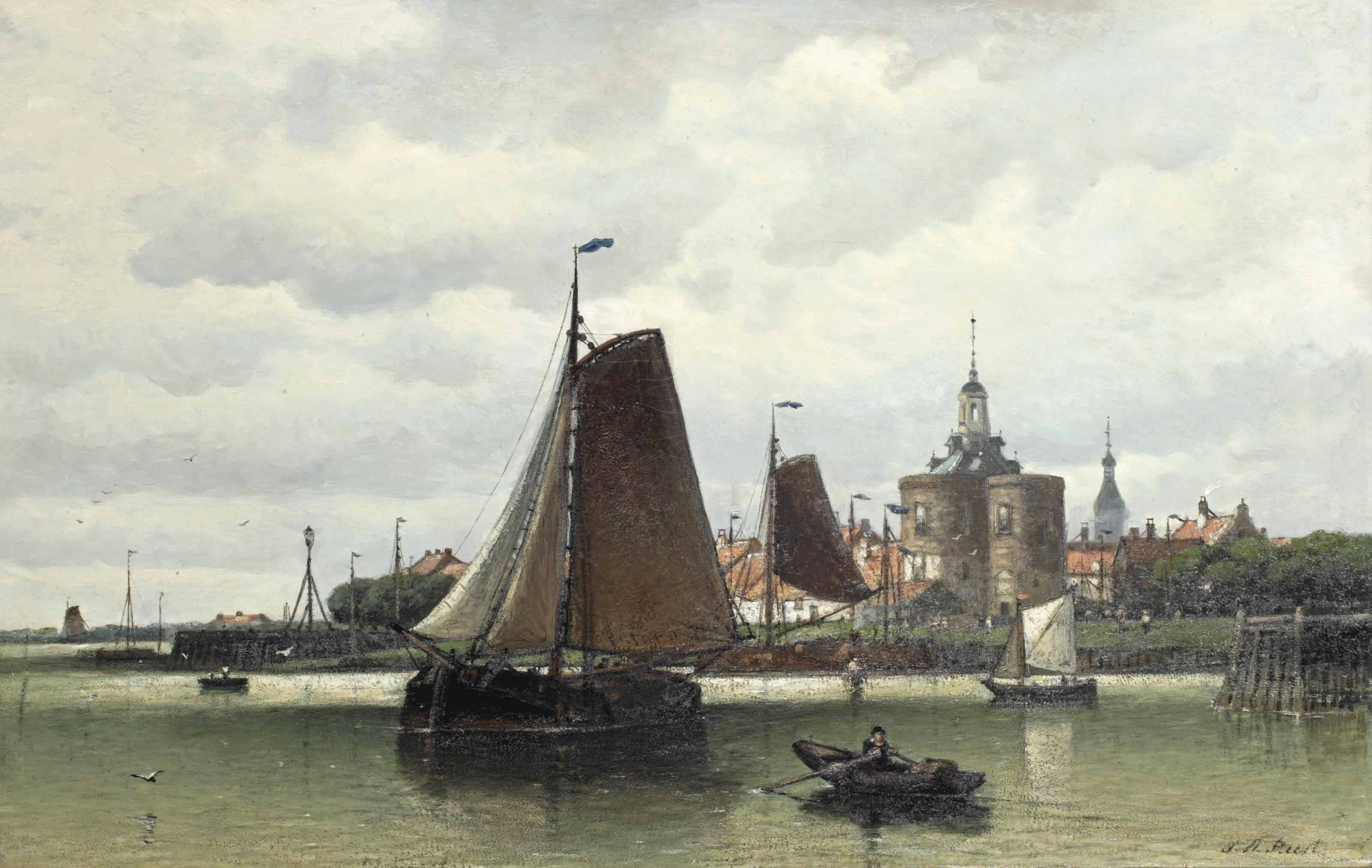 A view of the harbour of Enkhuizen with the Dromedaris