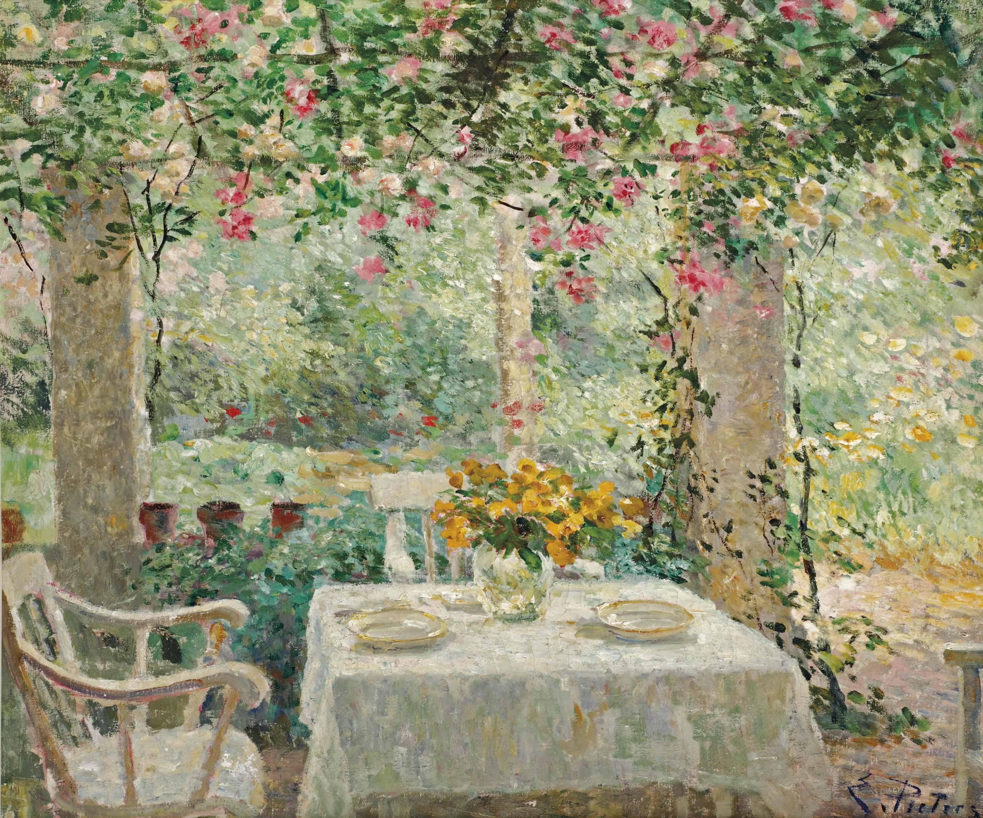 A garden terrace, Laren