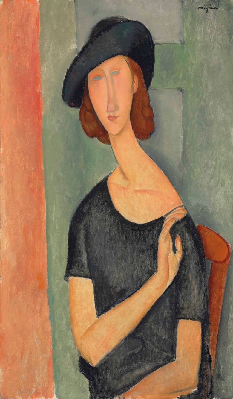 Amedeo Modigliani (1884-1920), Jeanne Hébuterne (Au chapeau), painted in 1919. 36¼ x 21¼  in (92 x 54 cm). Sold for £26,921,250 on 6 February 2013 at Christie's in London