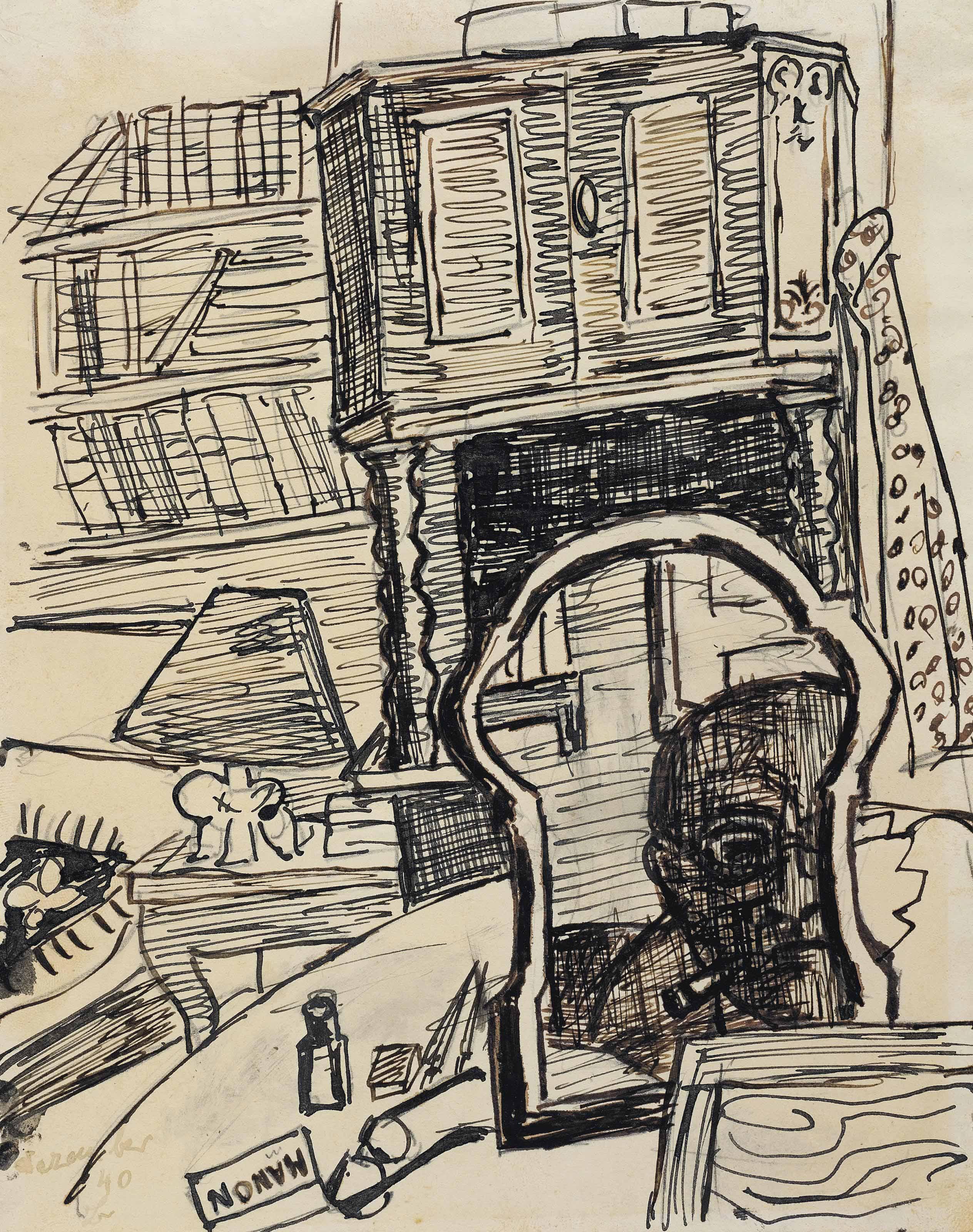 Selbstbildnis, Der Zeichner im Spiegel (Manon)