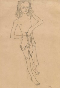 Mädchenhalbakt, den Rock zwischen den Beinen durchgezogen (Tochter des Gauklers)