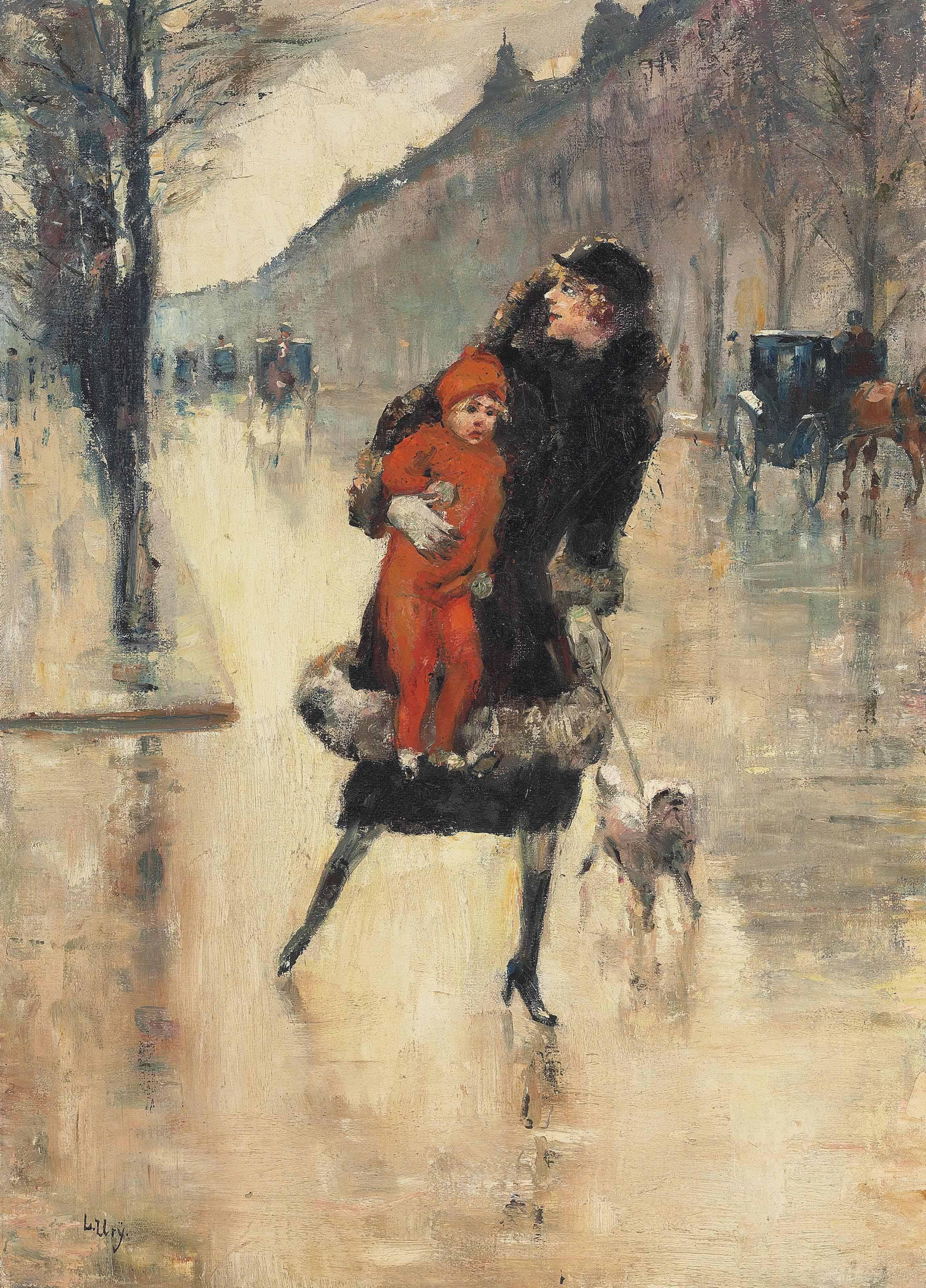 Mutter mit Kind auf einer Strassenkreuzung