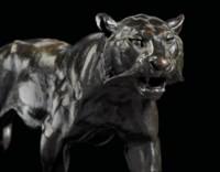 A PAIR OF BRONZE STUDIES ENTITLED 'TIGRE QUI MARCHE' AND 'LION QUI MARCHE'