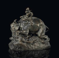 A FRENCH BRONZE GROUP ENTITLED 'INDIEN MONTE SUR UN ELEPHANT ECRASANT UN TIGRE'