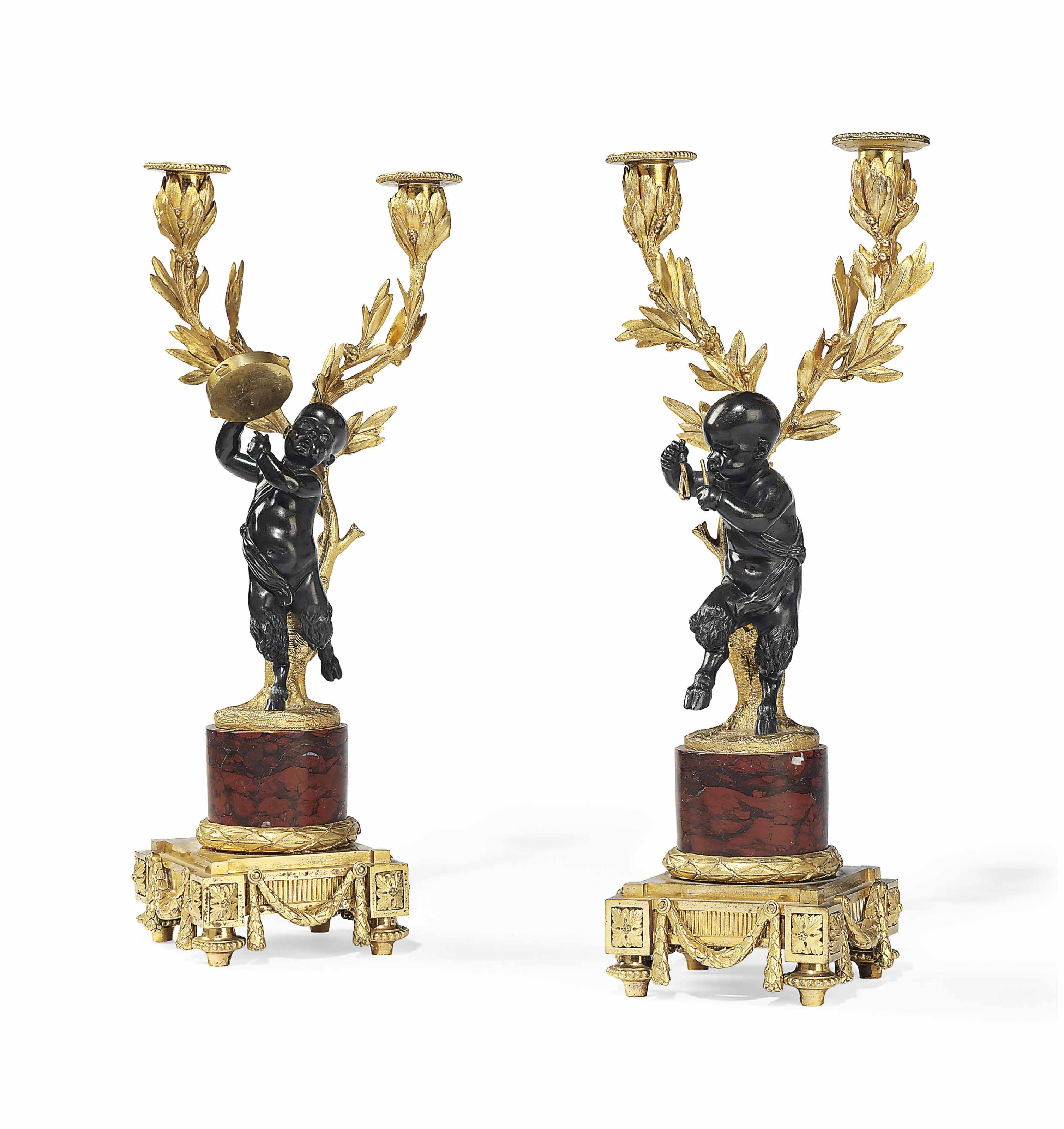 A PAIR OF FRENCH ORMOLU, PATINATED BRONZE AND MARBLE TWIN-LIGHT FIGURAL CANDELABRA