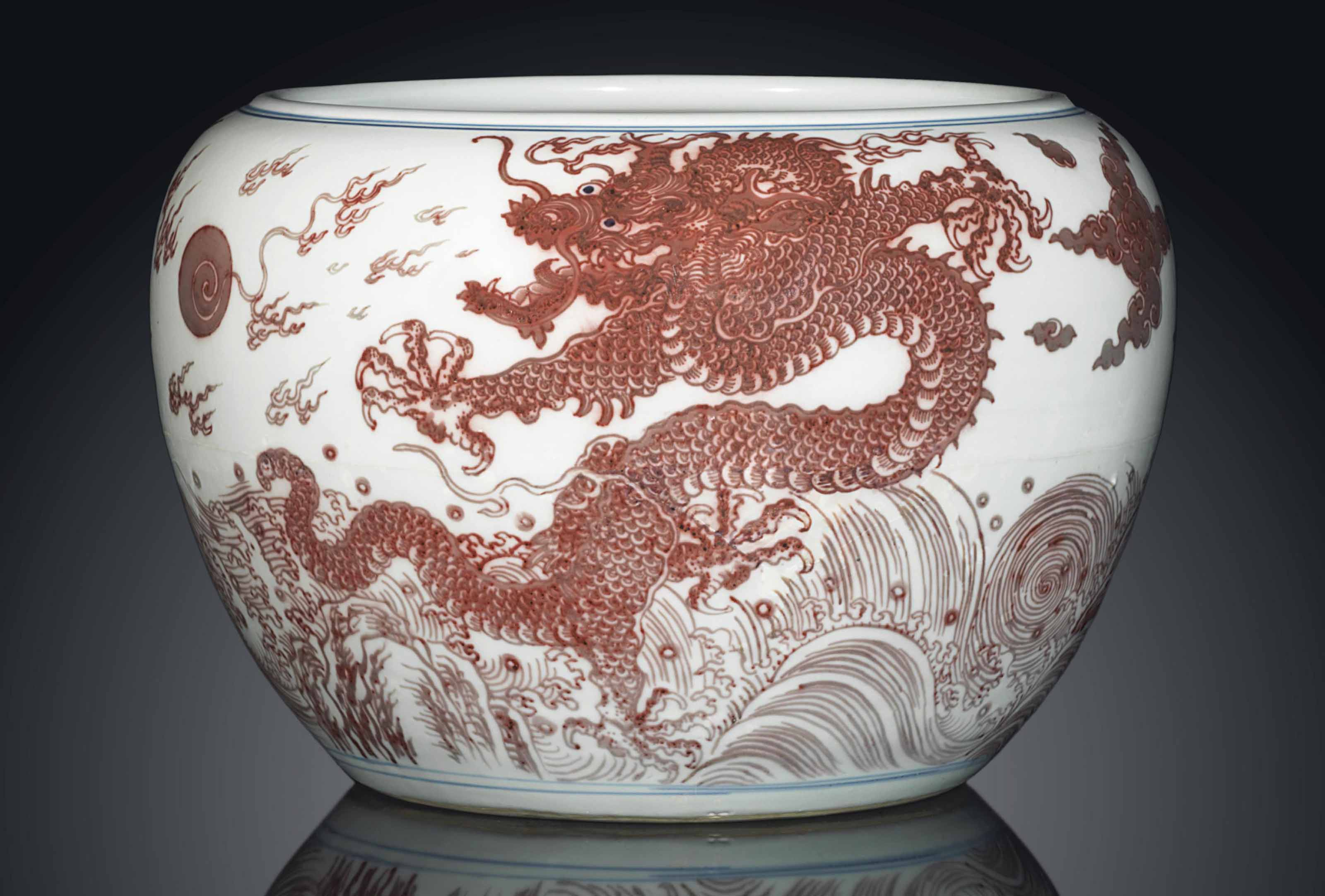 A RARE COPPER-RED AND UNDERGLAZE-BLUE DECORATED 'DRAGON' FISH BOWL