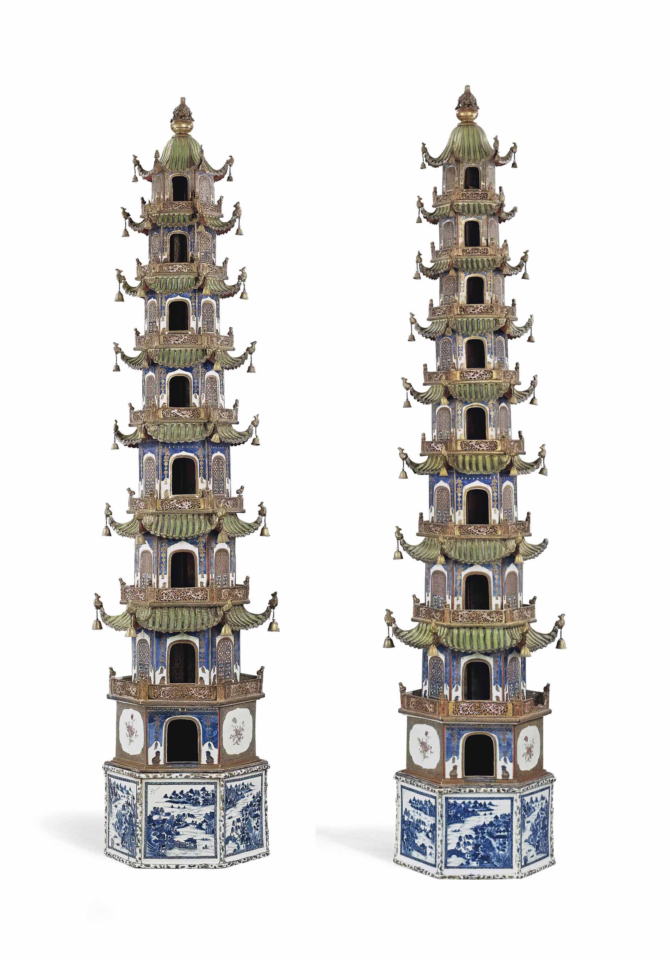 A MAGNIFICENT, EXTREMELY RARE PAIR OF MASSIVE FAMILLE ROSE MODELS OF PAGODAS