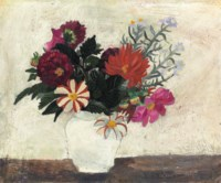 Flowers in a white pot