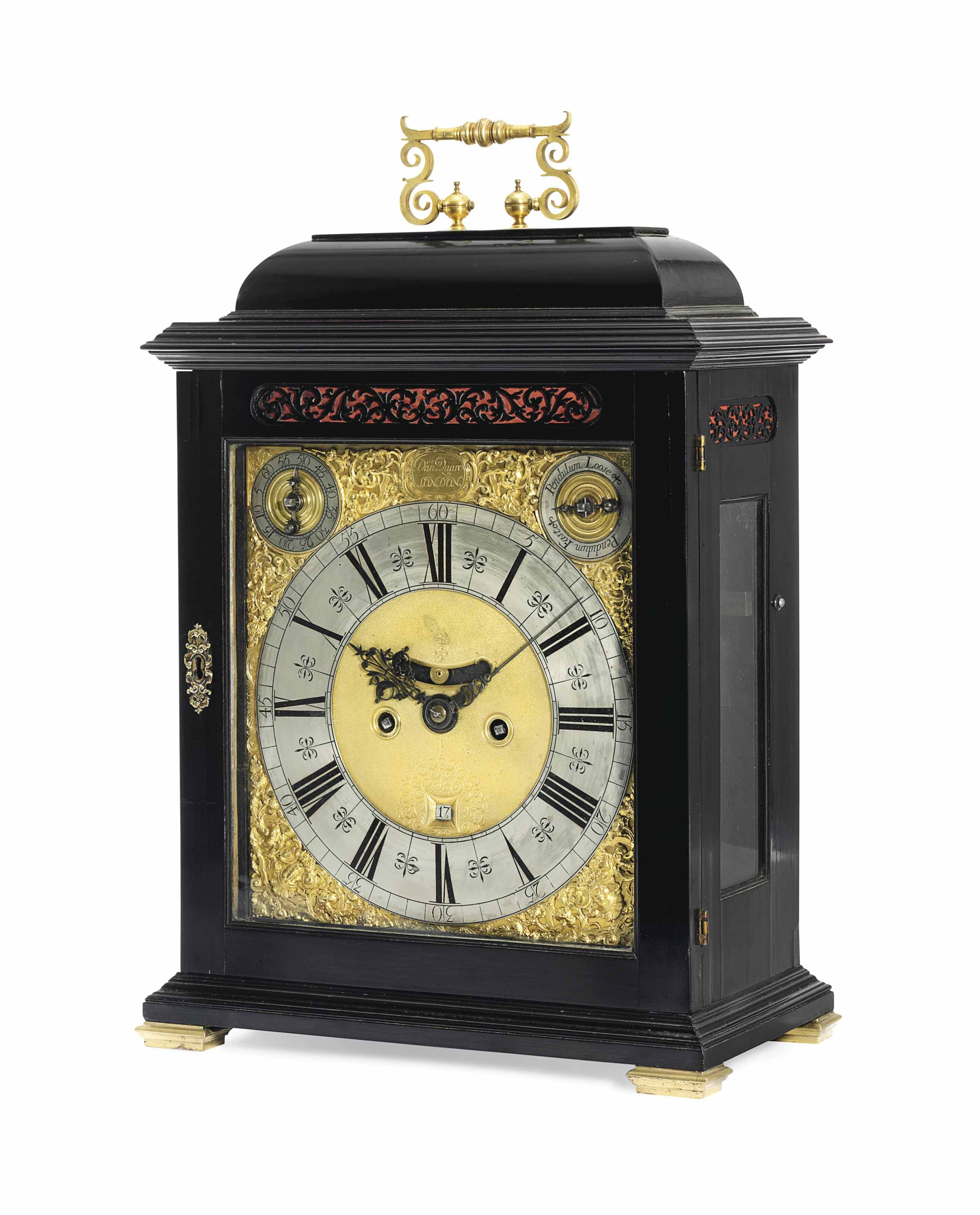 A QUEEN ANNE BRASS-MOUNTED EBONISED EIGHT-DAY STRIKING TABLE CLOCK