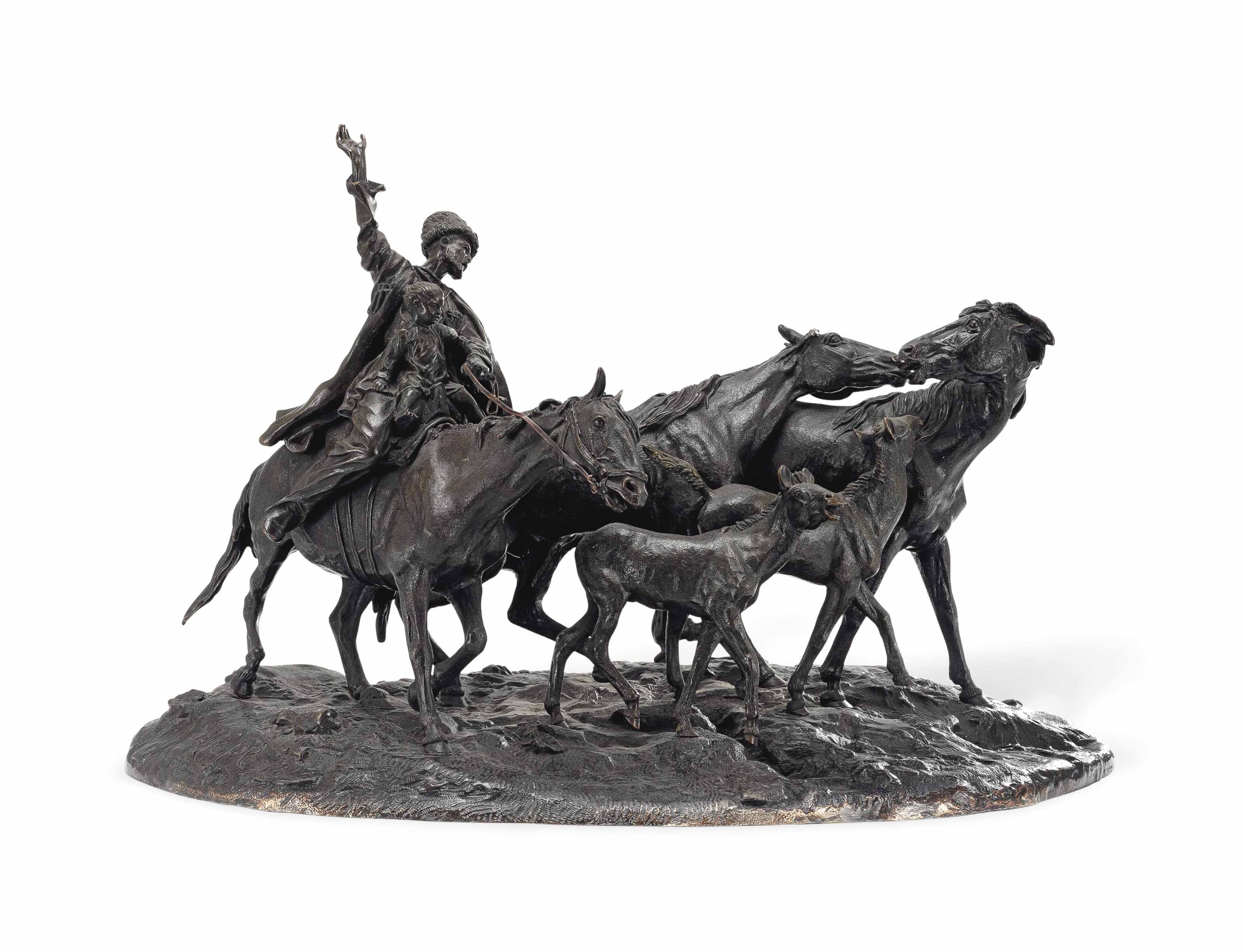 A BRONZE GROUP OF A HERD OF KIRGHIZ HORSES BEFORE DEPARTURE
