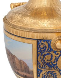 A MONUMENTAL BERLIN (K.P.M.) ORMOLU-MOUNTED BLUE-GROUND TOPOGRAPHICAL MÜNCHNER VASE