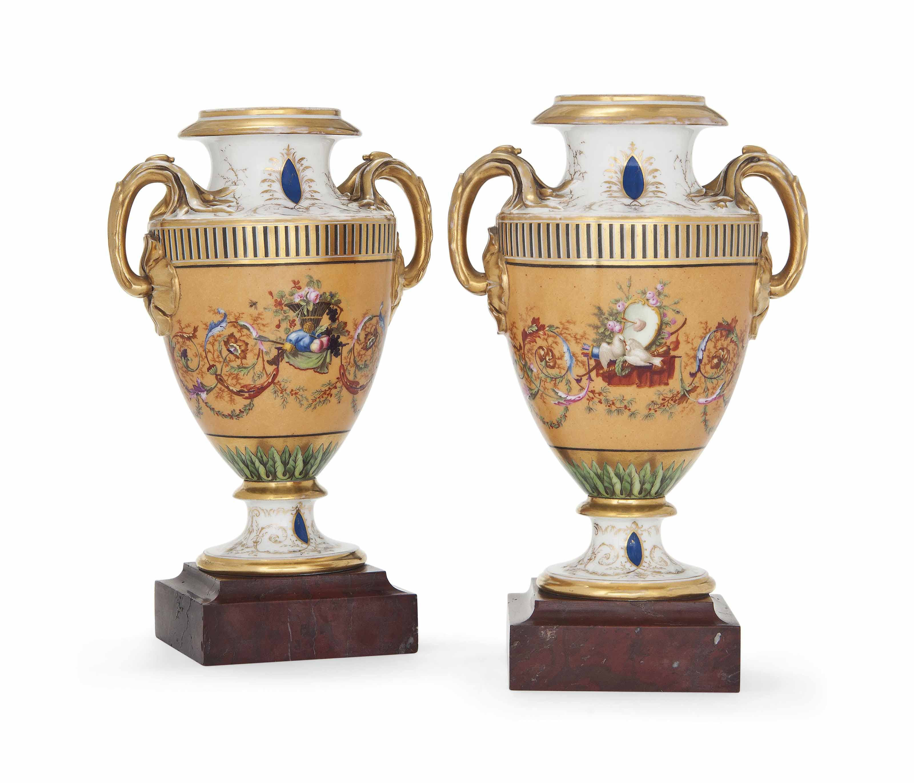 A PAIR OF PARIS PORCELAIN SALMON-GROUND TWO-HANDLED VASES