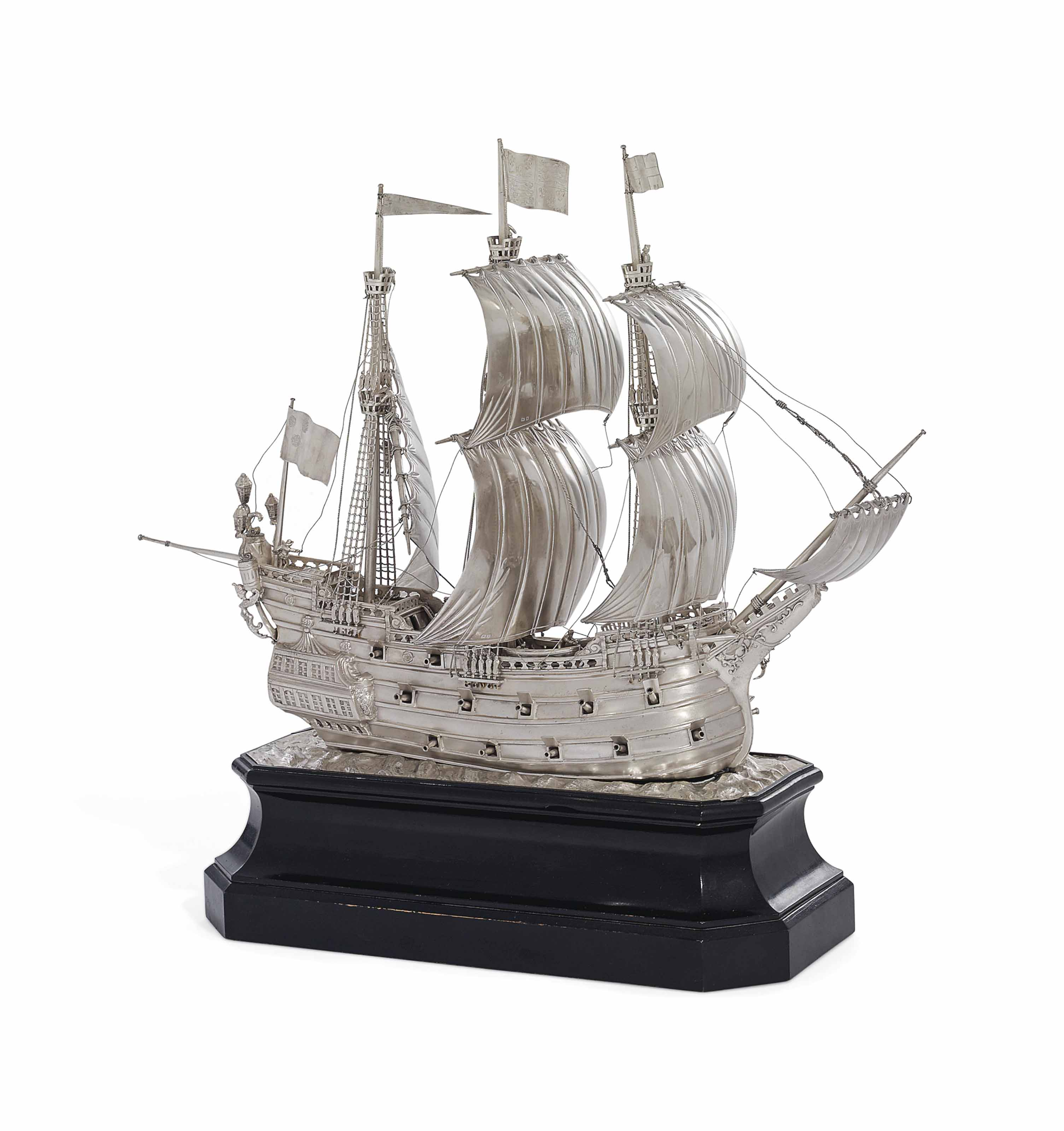 A GEORGE V SILVER MODEL OF AN ELIZABETHAN WAR SHIP