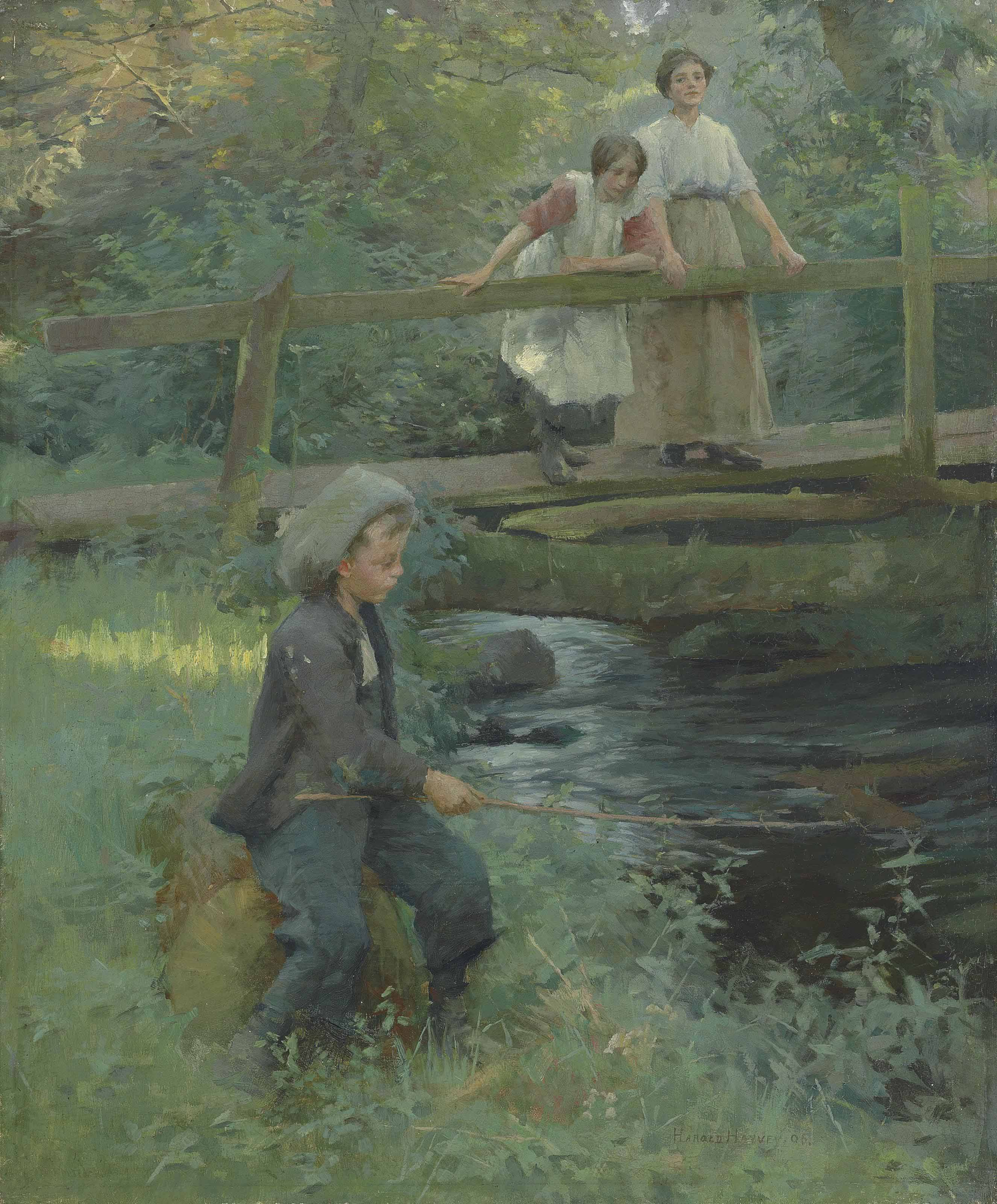 Fishing by a woodland stream