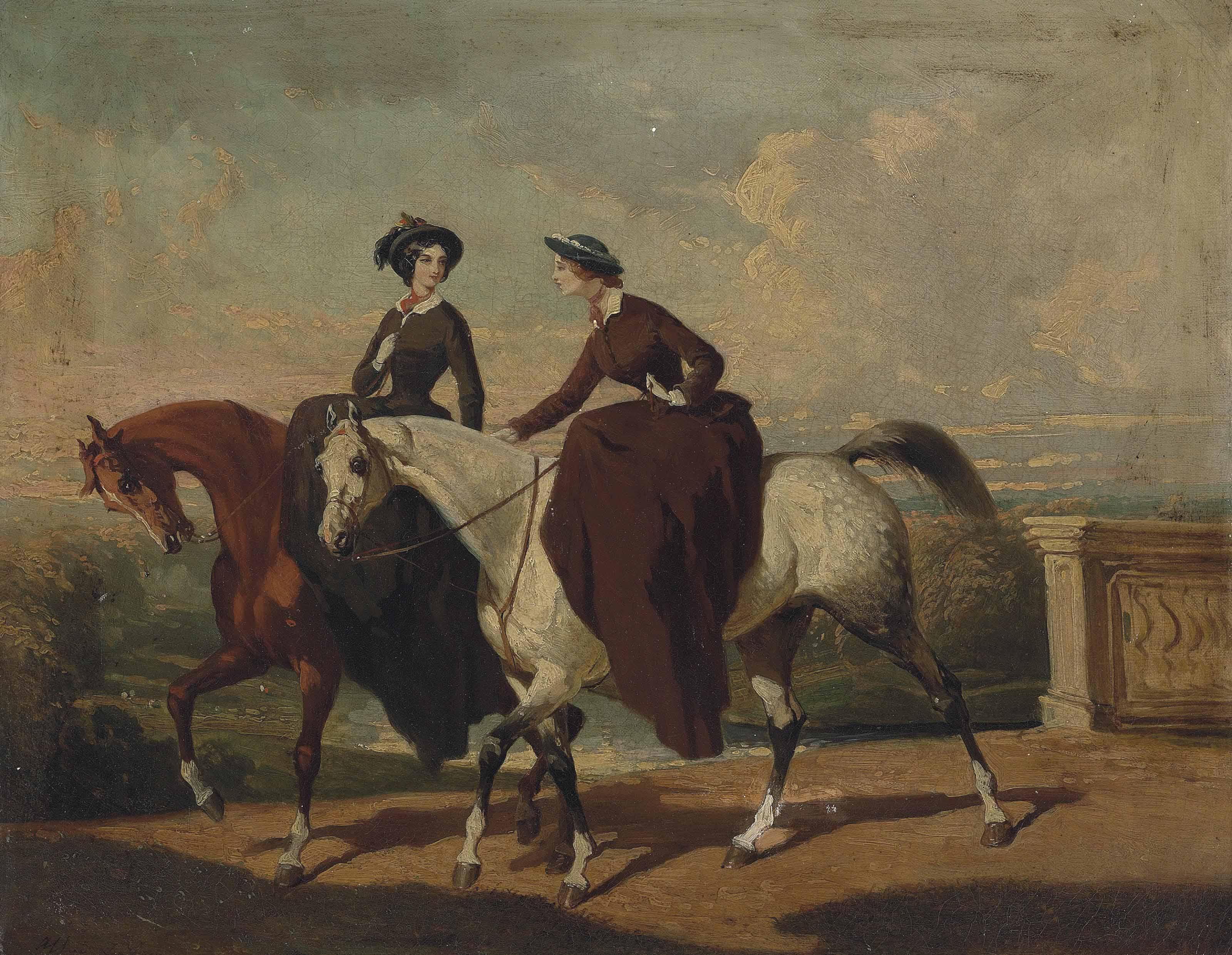 Deux amazones au cheval