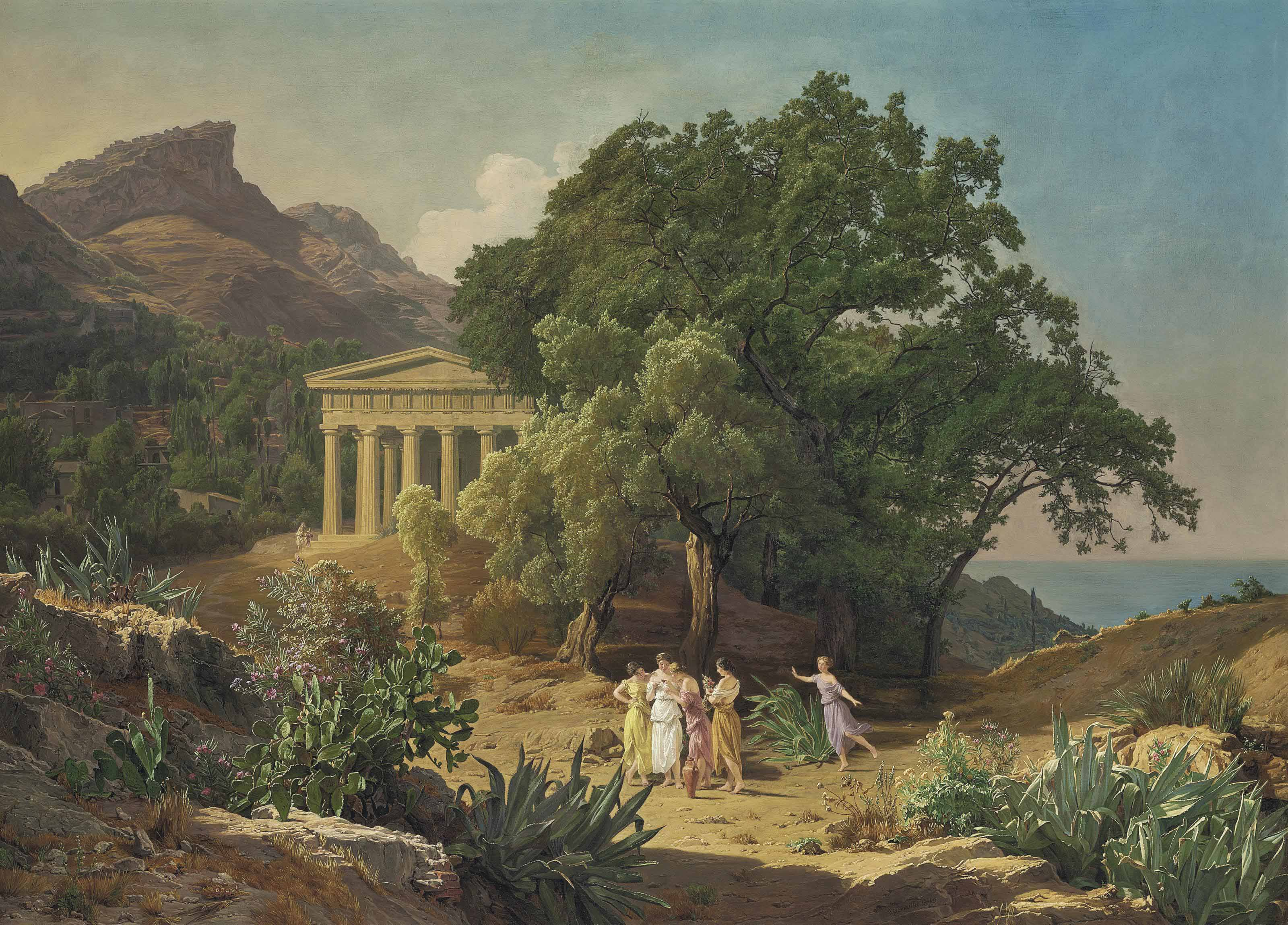 A Doric temple in Sicily with Castelmola and Taormina beyond