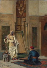 A musician and a guardsman in an oriental interior