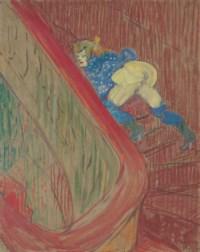 Dans l'escalier de la rue des Moulins
