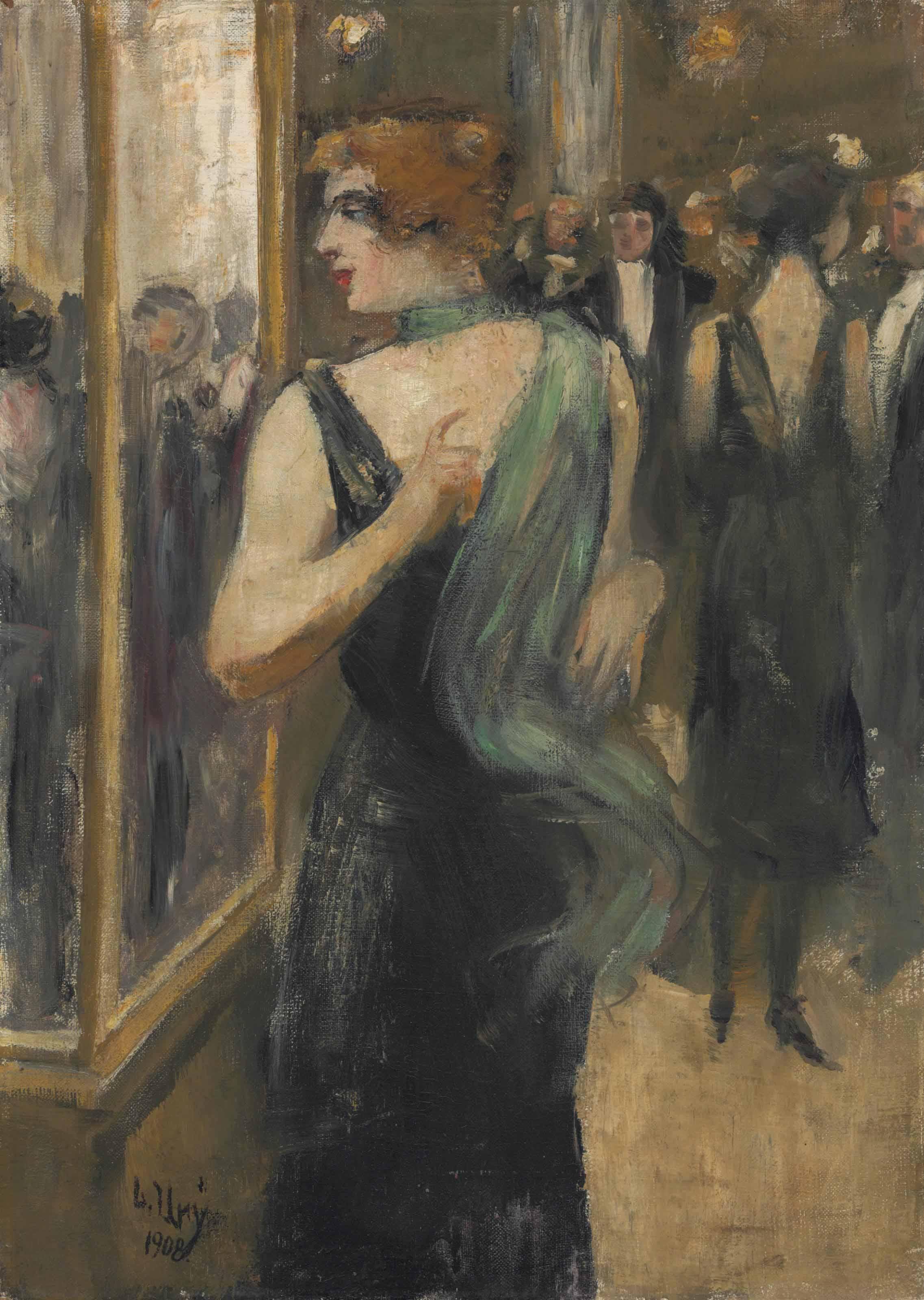 Dame in schwarzem Abendkleid mit grünem Schal