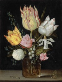 Tulips, roses, bluebells, Narcissus tortuosis, forget-me-nots, lily of the valley and cyclamen in a flask on a stone ledge with a caterpillar, butterfly and dragonfly