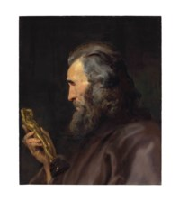 Head of a bearded man in profile holding a bronze figure