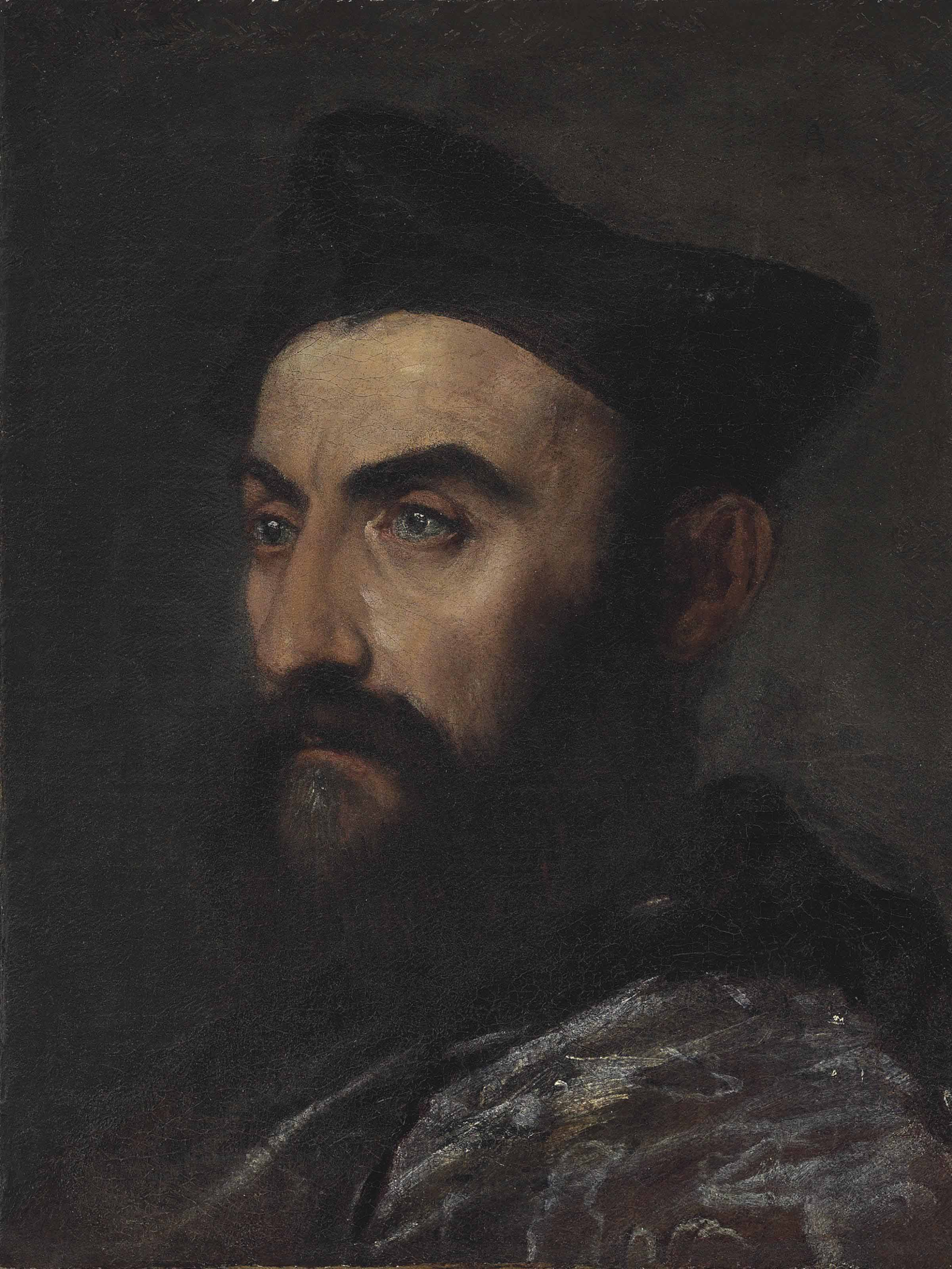 Portrait of a cleric, bust-length, in a blue coat and black hat - a fragment
