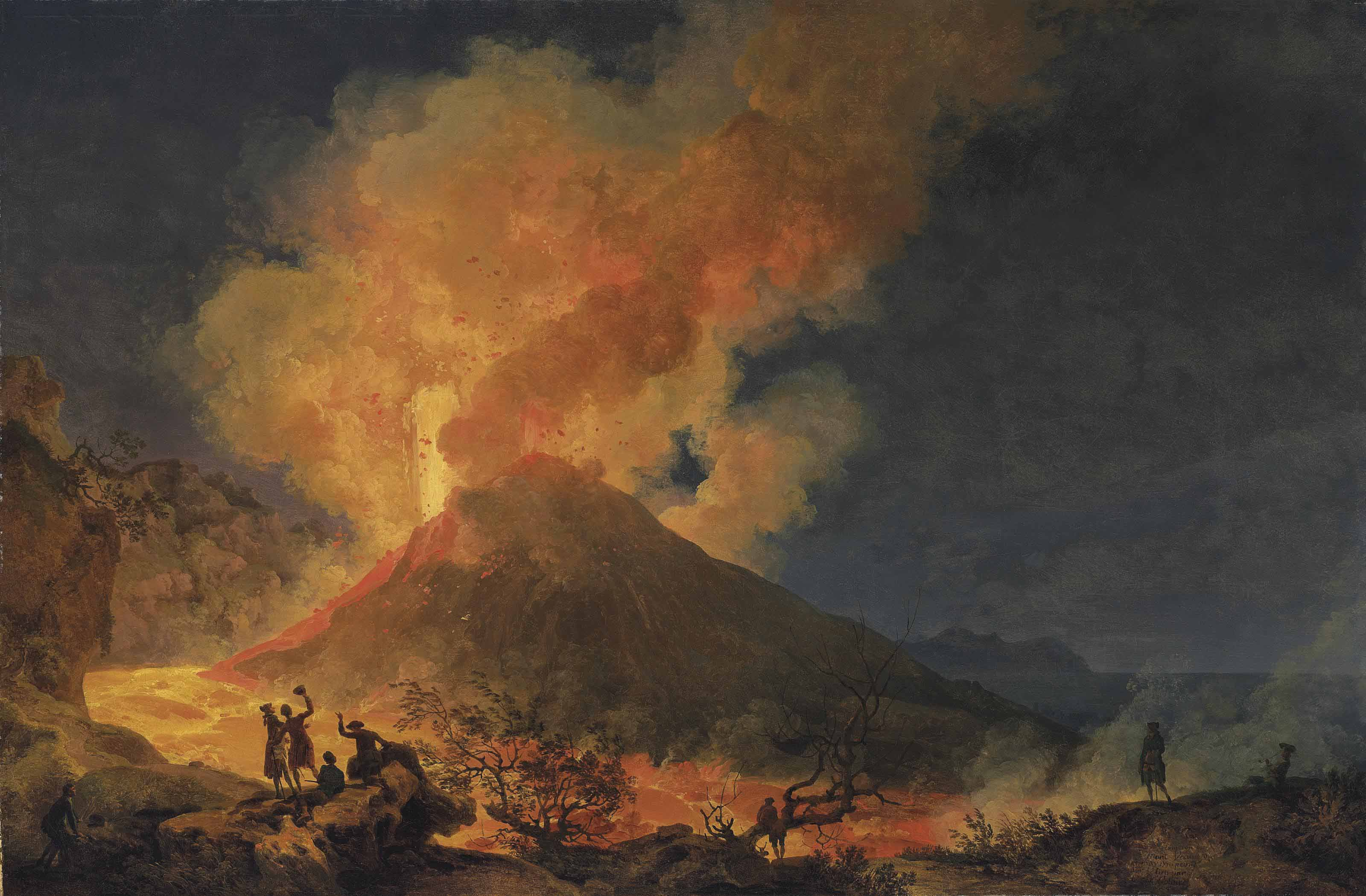 Vesuvius erupting at night seen from the Atrio del Cavallo, with elegant onlookers, a view of Portici and Capri beyond