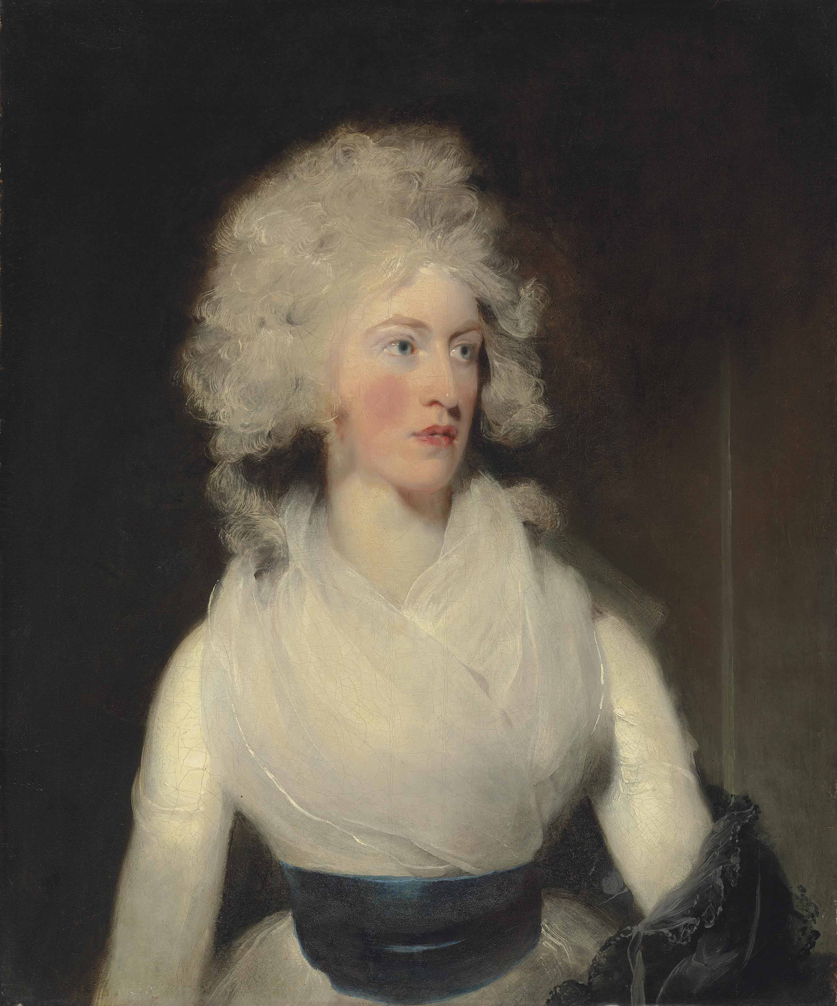 Portrait of Emily, Lady Berkeley, half-length, in a white dress with a blue sash and grey shawl