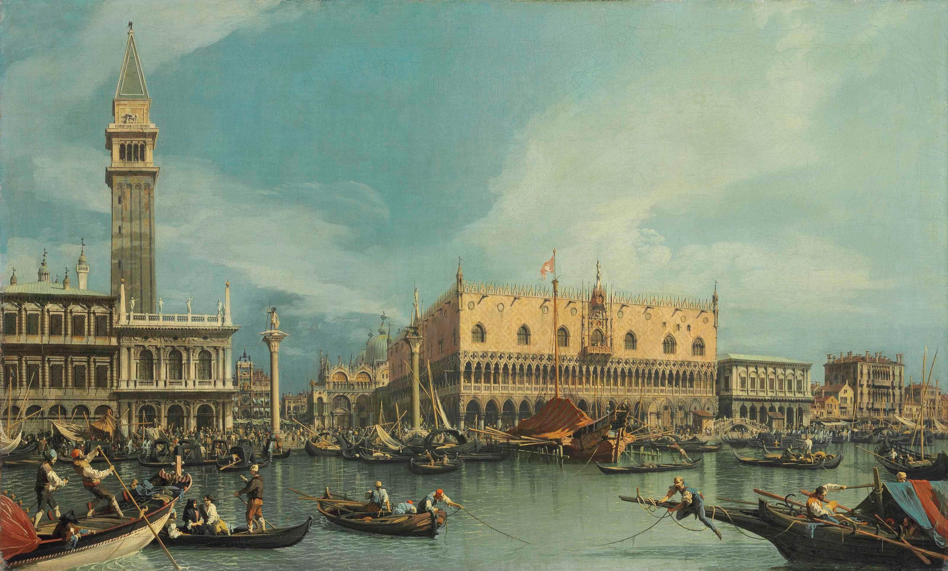 乔凡尼·安东尼奥·康纳尔,又名卡纳莱托,《威尼斯莫洛圣马可角港口》,68.8 x 112.7公分。2013年7月2日在佳士得伦敦以8,461,875英镑成交。