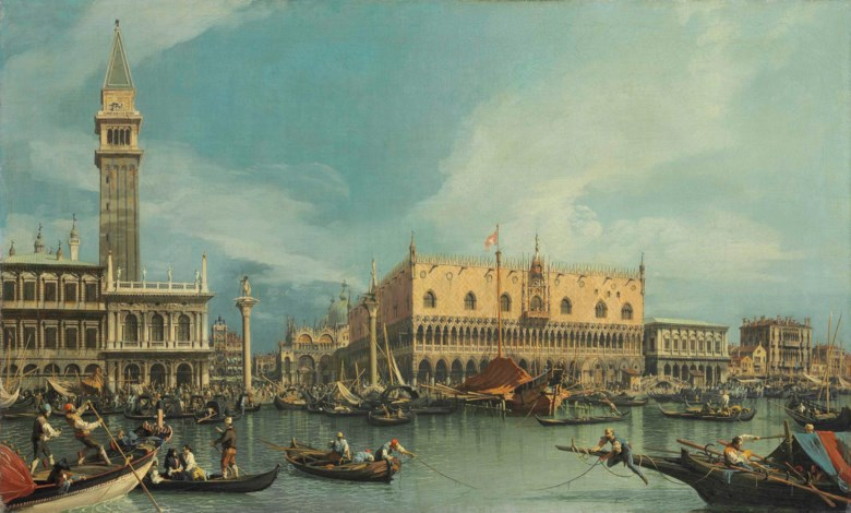 Giovanni Antonio Canal, called Canaletto (Venice 1697-1768), The Molo, Venice, from the Bacino di San Marco. 27⅛ x 44⅜  in (68.8 x 112.7  cm). Sold for £8,461,875 on 2 July 2013 at Christie's in London
