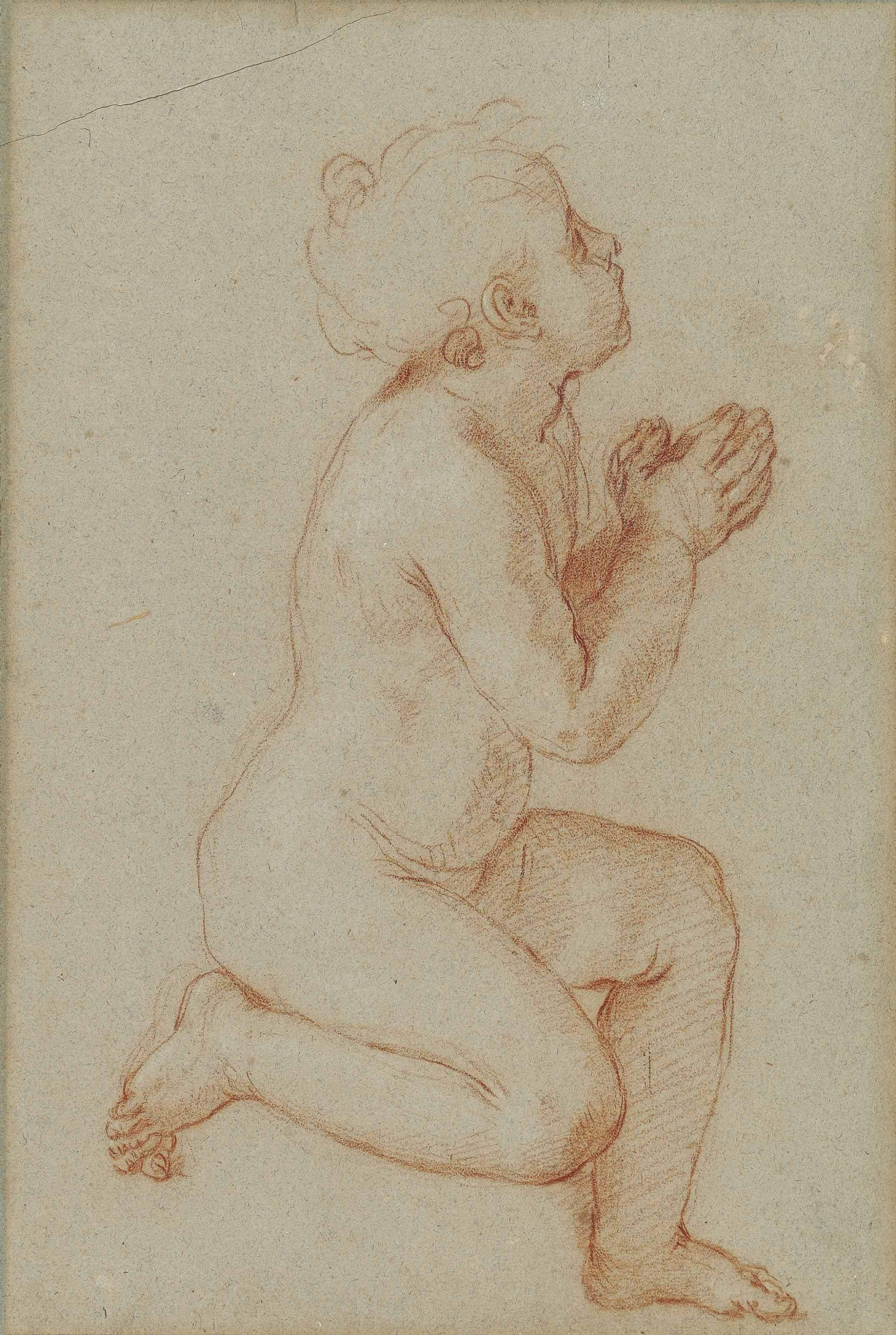 A kneeling child, probably for an infant Saint John the Baptist