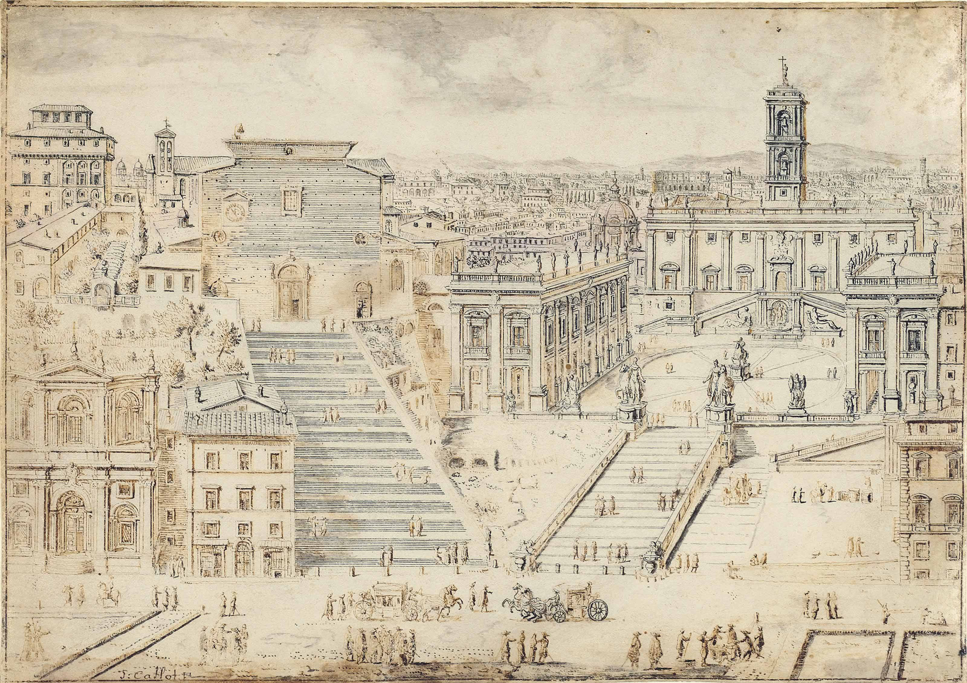 View of the Capitol with the Church of Santa Maria Aracoeli and the Campidoglio, Rome