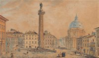 View of Trajan's Column, with the Church of Santa Maria del Loreto, Rome