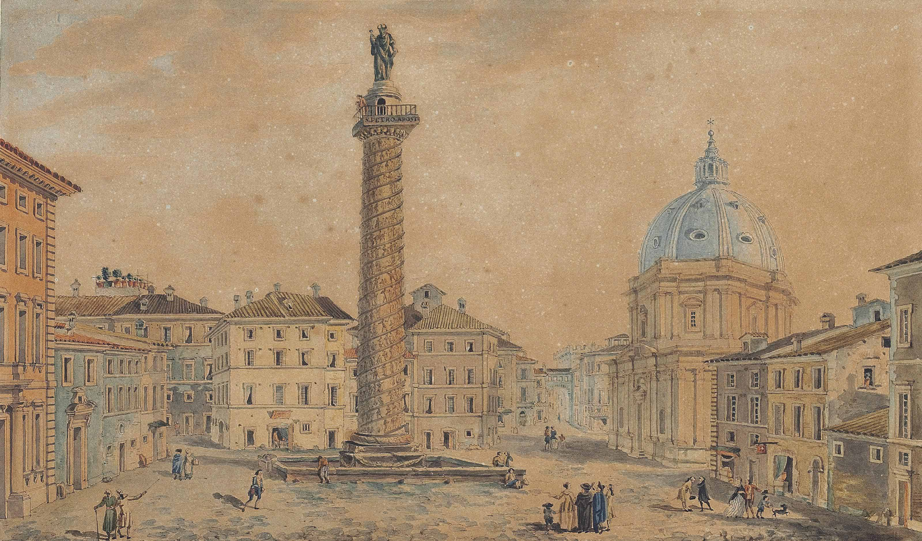View of Trajan's Column, with the Church of Santa Maria del Loreto, Rome