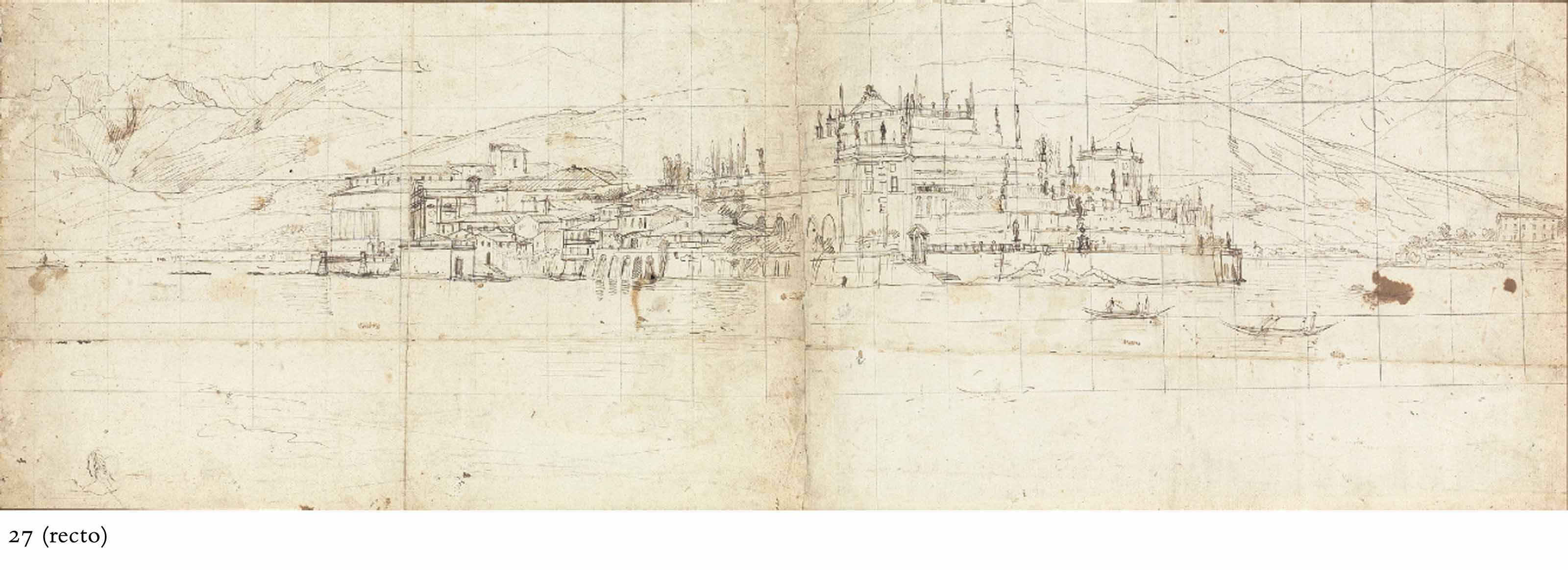 View of Isola Bella on Lake Maggiore (recto); Details of the same view, with terraced gardens and a mountain range (verso)