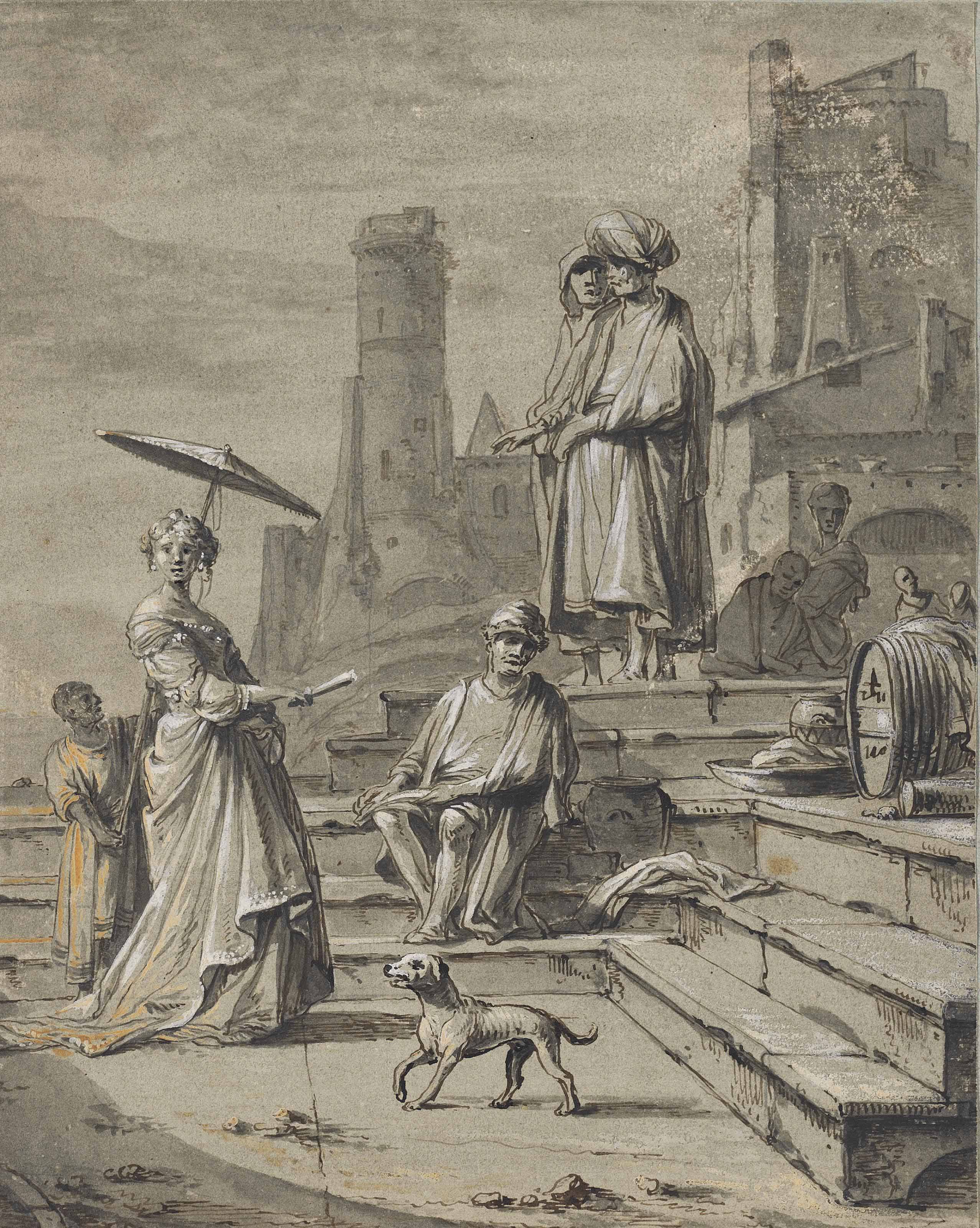 View of a port with oriental figures and an elegant lady with her page shading her with a parasol