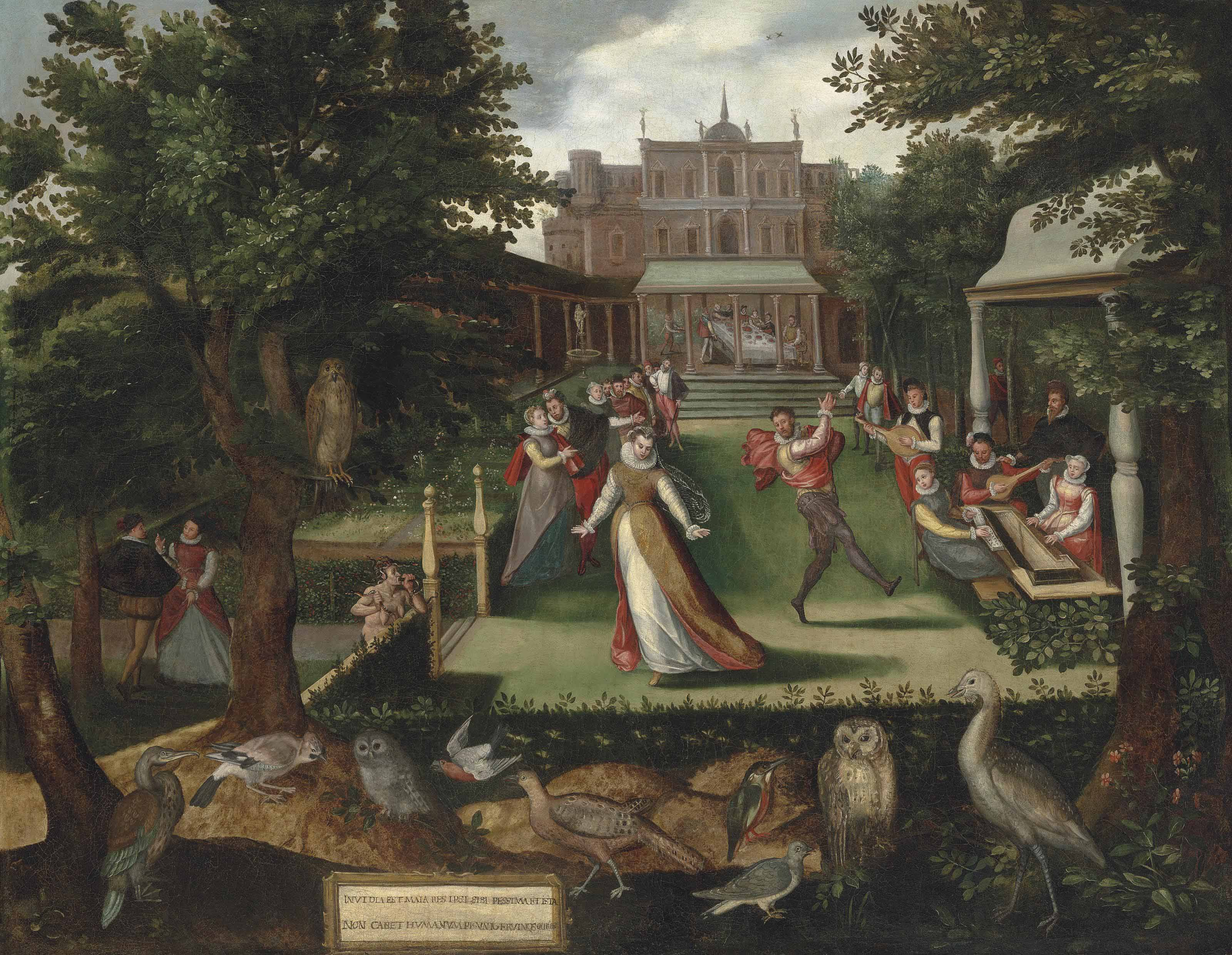 Elegantly dressed figures merrymaking in a garden