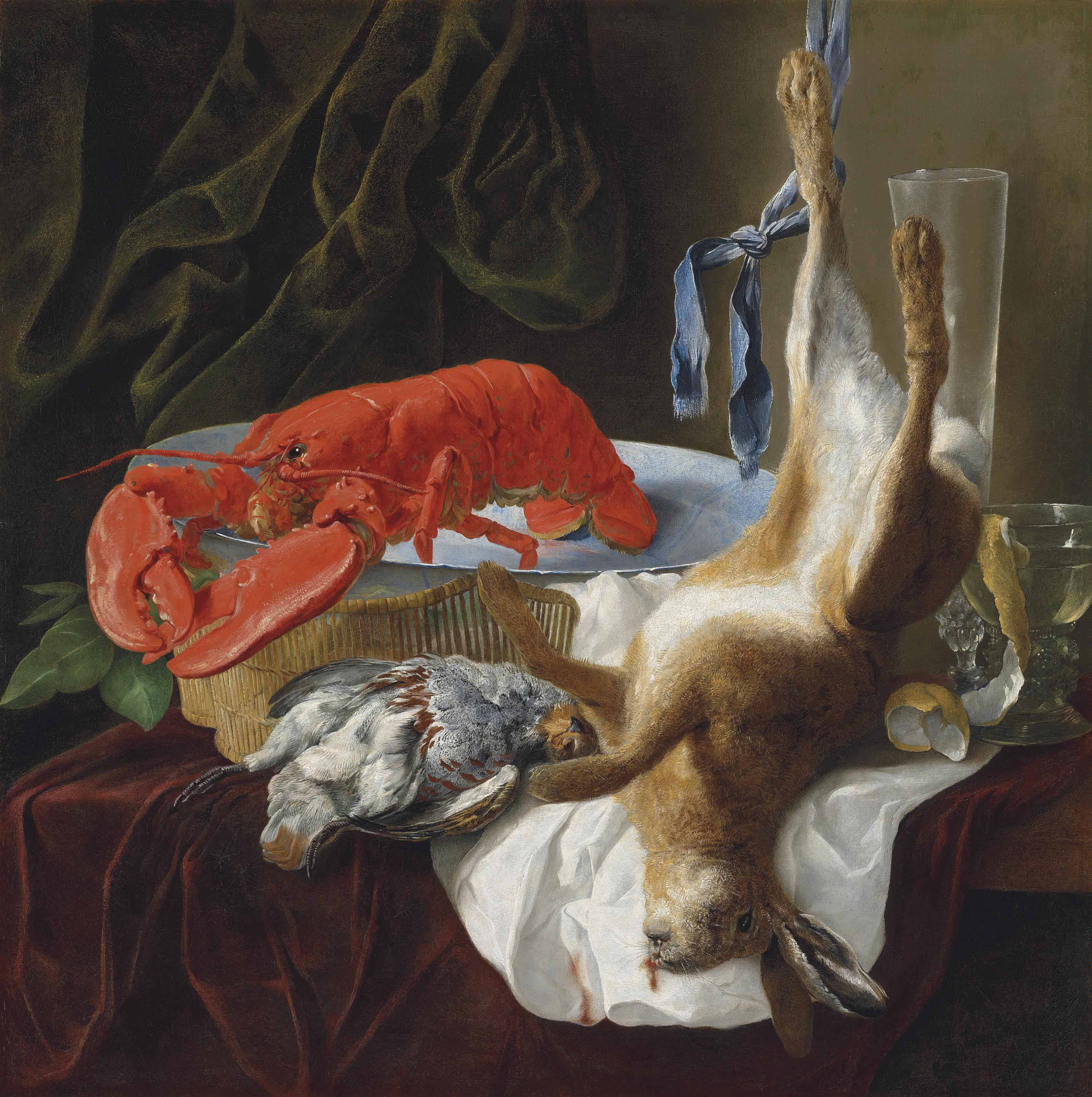 A hare, a partridge, a lobster and a partially peeled lemon in a roemer on a partly draped table, in an interior