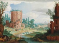 An Italianate landscape with classical ruins, reminiscent of the Terme di Traiano, shepherds watering their flocks, a view of Rome in the distance