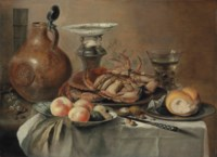 Crabs and bread on pewter platters, peaches and other fruit in a porcelain bowl, a salt vessel, a jug, a roemer and a knife, on a draped table