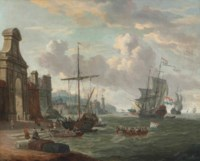 A Mediterranean harbour with stevedores loading ships by a city gate, a Dutch man-of-war and other shipping beyond