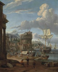 A Mediterranean harbour with figures unloading ships and others conversing, a town with a fortress and a church beyond